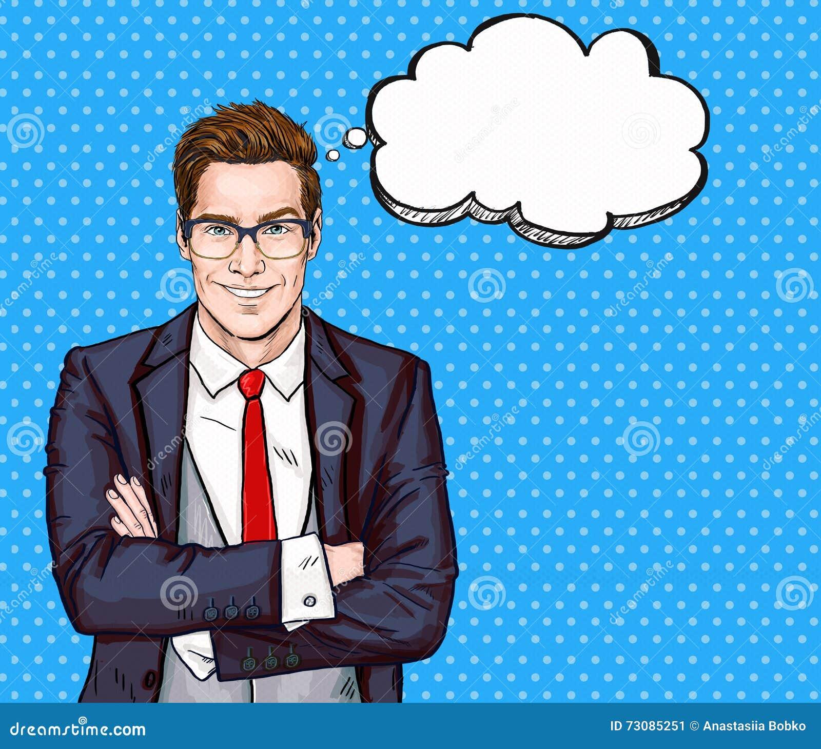 El hombre de negocios sonriente en vidrios en estilo cómico con discurso burbujea éxito