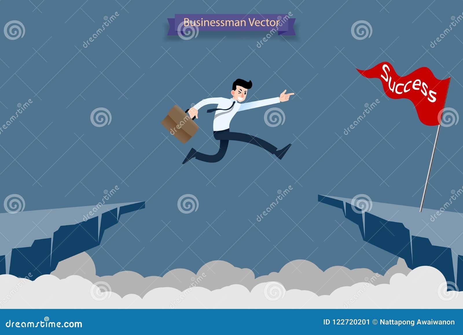 El hombre de negocios valiente audaz hace riesgo por el salto sobre el barranco, acantilado, abismo para alcanzar su desafío de l