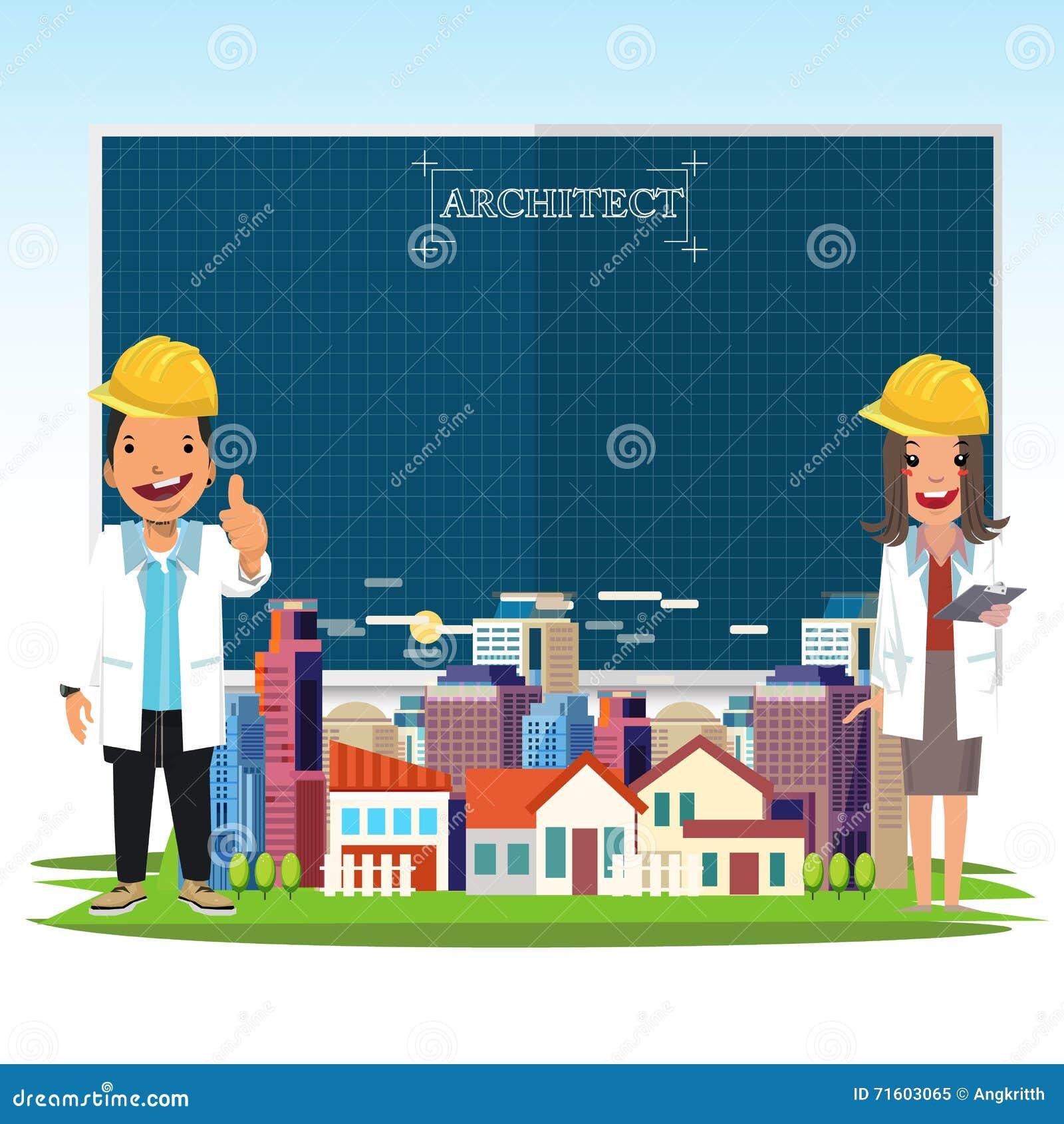 El hombre del arquitecto y las mujeres y la ciudad ajardinan con un pape del modelo