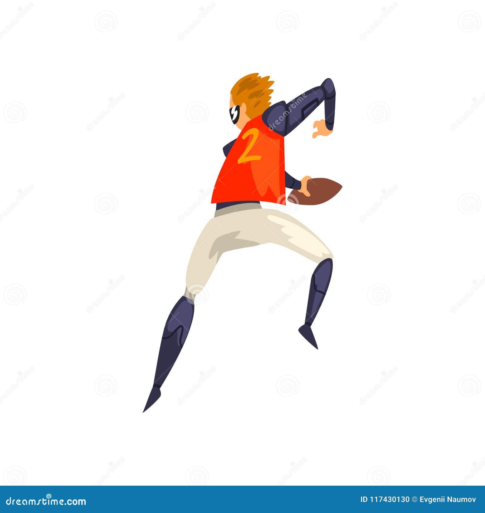 El hombre en los deportes futuristas uniforme y vidrios que juegan al rugbi, tecnología del futuro en deportes vector el ejemplo