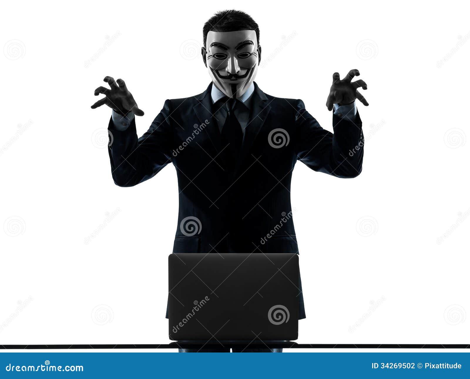 El hombre enmascaró el ordenador computacional del miembro anónimo del grupo que amenazaba el si