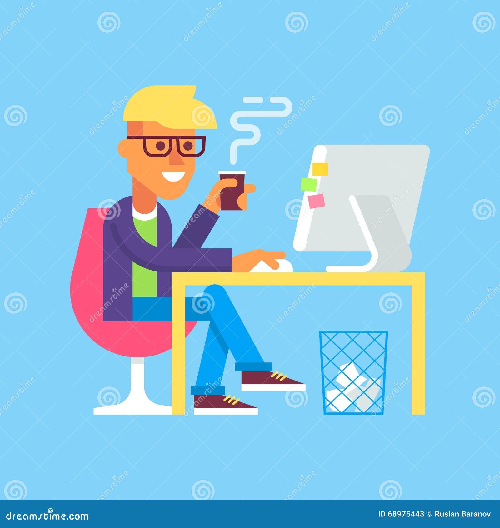 El hombre está trabajando con el ordenador y el café de consumición
