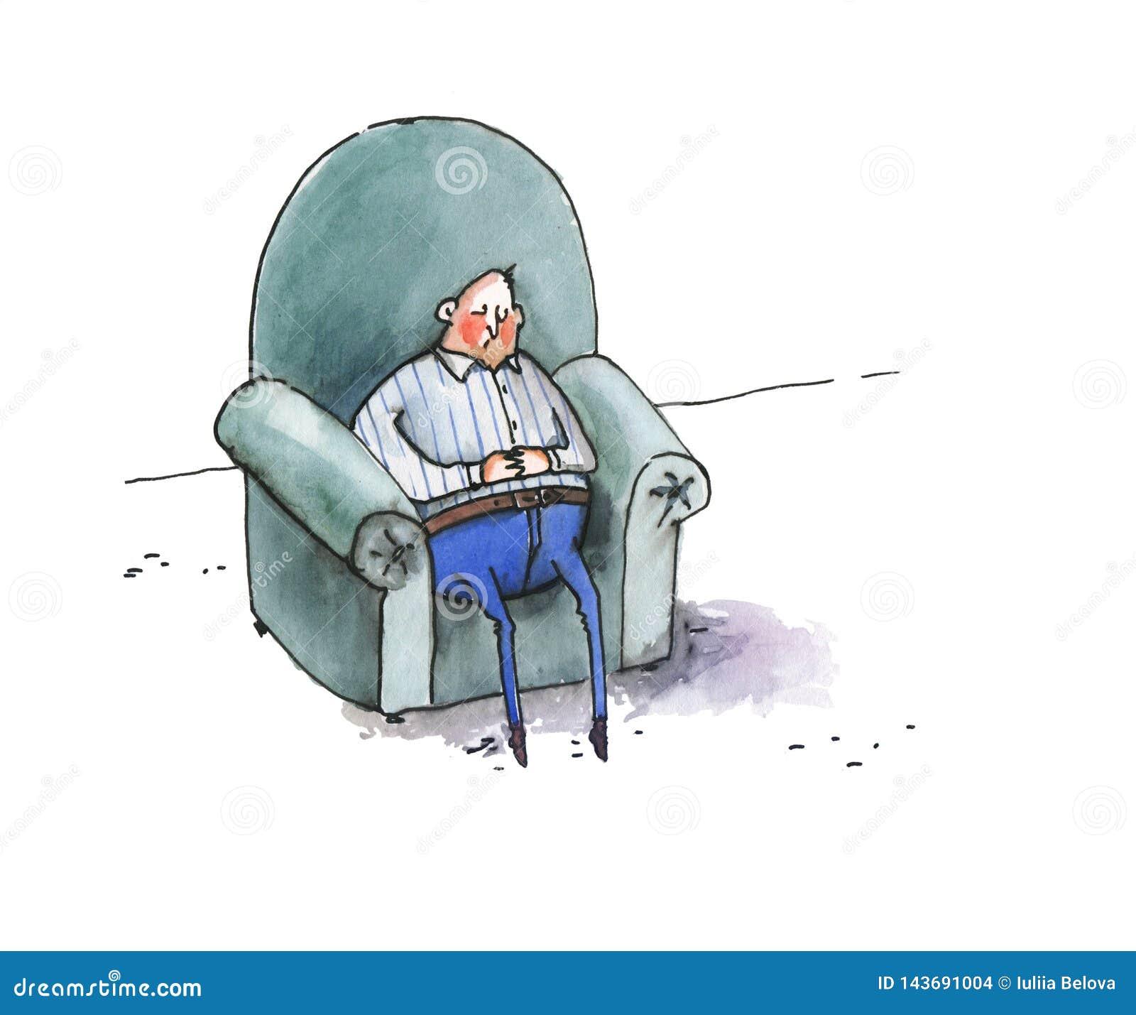 El hombre gordo duerme en una butaca azul grande Ilustraci?n chistosa watercolor Aislado en el fondo blanco