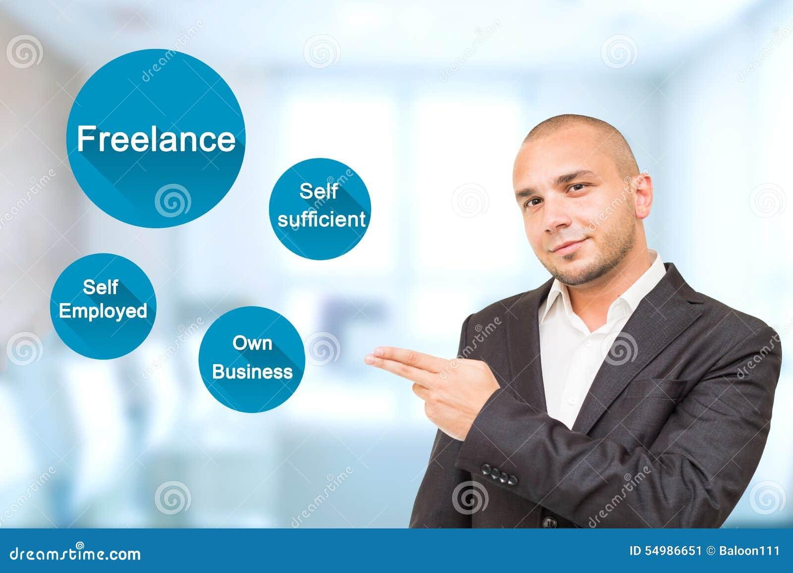 El hombre hermoso joven muestra cualidades importantes en trabajo independiente