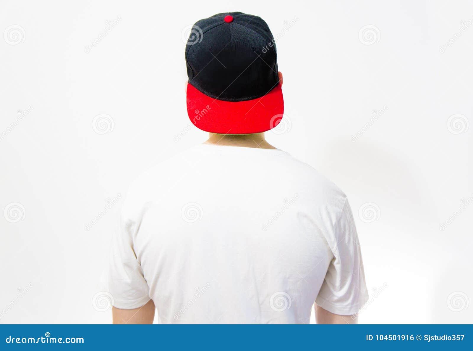 f84fb8c42113 El Hombre, Individuo En La Gorra De Béisbol Negra, Roja En Blanco ...