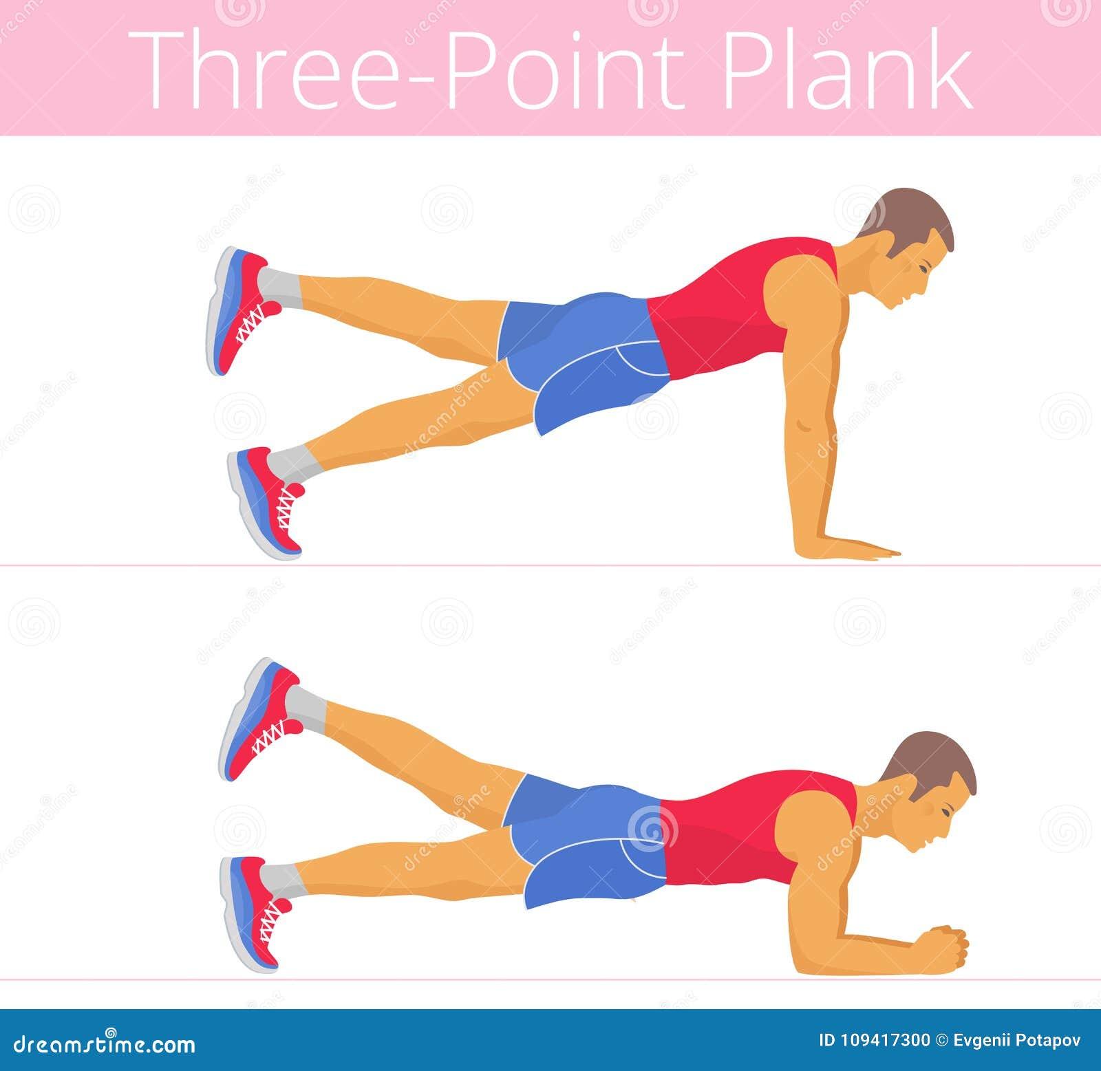 El hombre joven blanco fuerte deportivo está haciendo el ejercicio de tres  puntos del tablón El ejemplo plano del muchacho adulto potente caucásico  está ... 9414ca7e3481