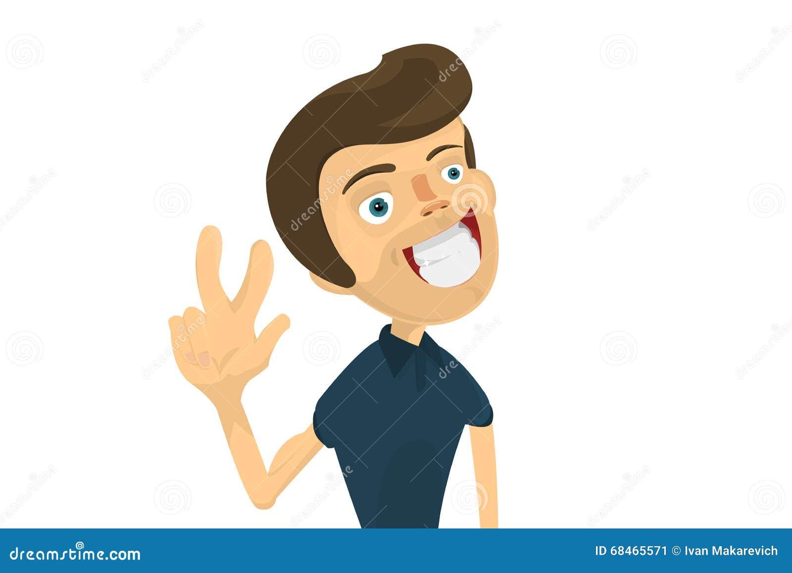 Cartoon Characters 3 Fingers : El hombre joven muestra dos fingeres nflat caricatura