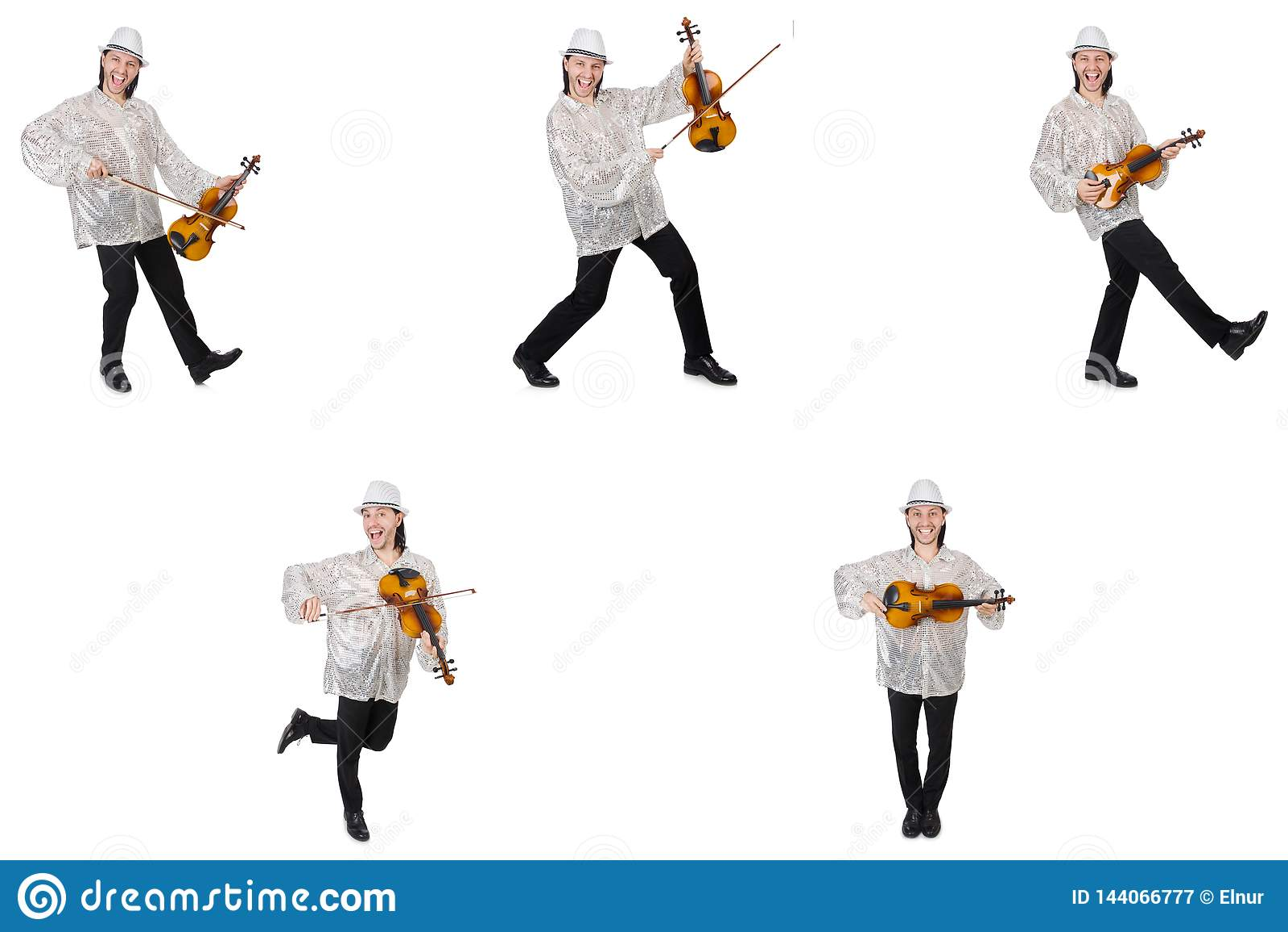 El hombre joven que toca el violín aislado en blanco