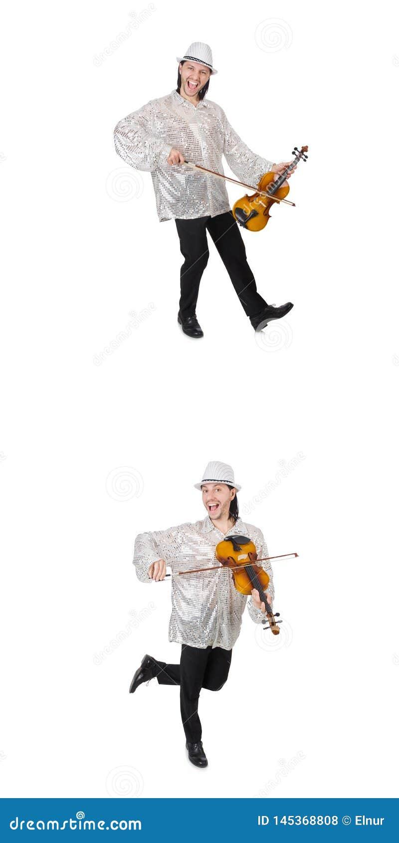 El hombre joven que toca el viol?n aislado en blanco