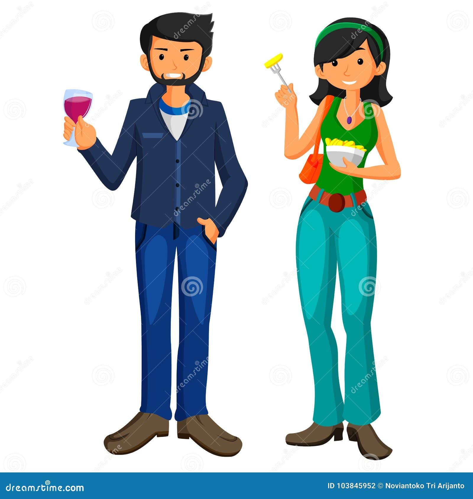 El hombre joven y la muchacha comen los alimentos de preparación rápida en diseño plano