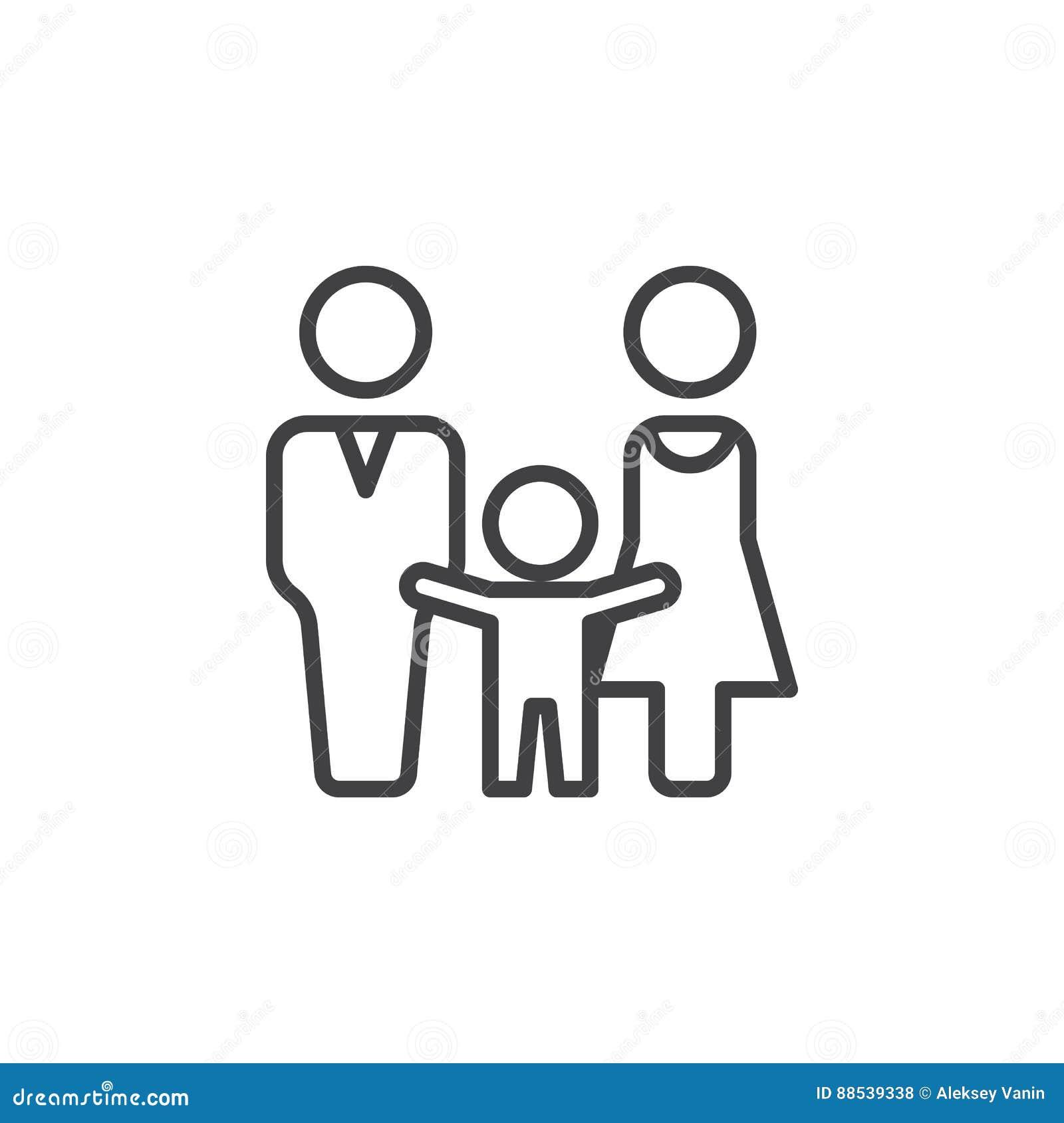 El hombre, la mujer y el niño alinean el icono, muestra del vector del esquema, pictograma linear aislado en blanco