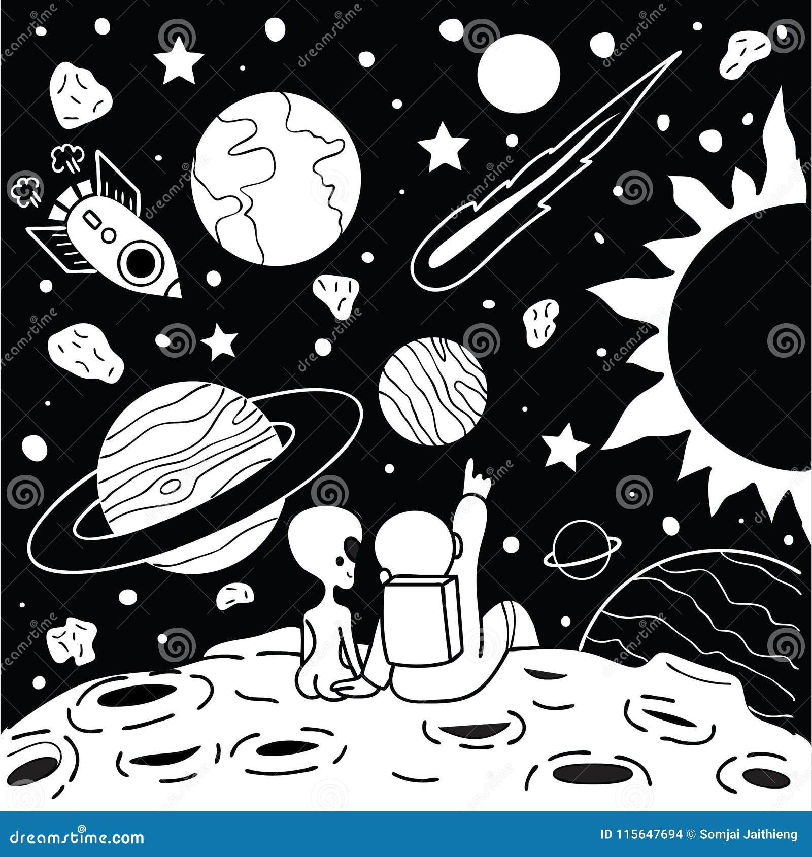 El hombre lindo del espacio tiene un rato romántico con la muchacha extranjera para la camiseta impresa y otra elemento del diseñ