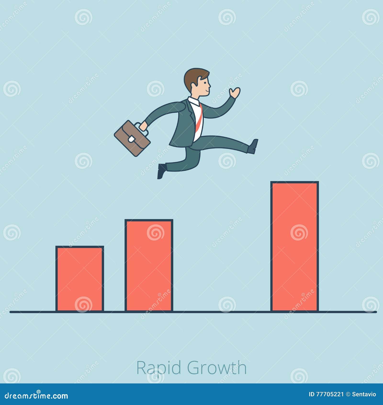 El hombre plano linear del negocio del crecimiento rápido salta el diagrama