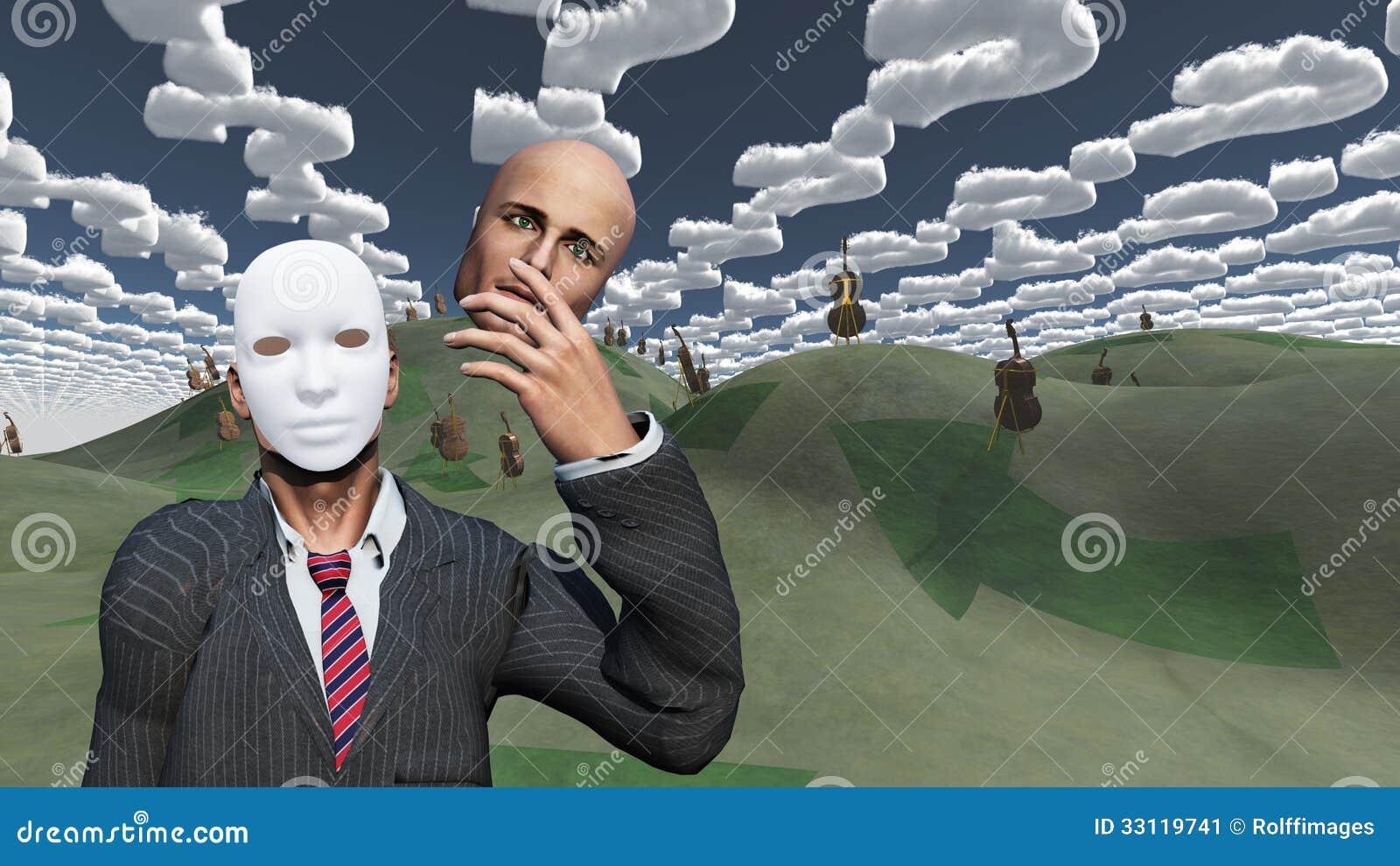 El hombre quita la cara para revelar la máscara debajo