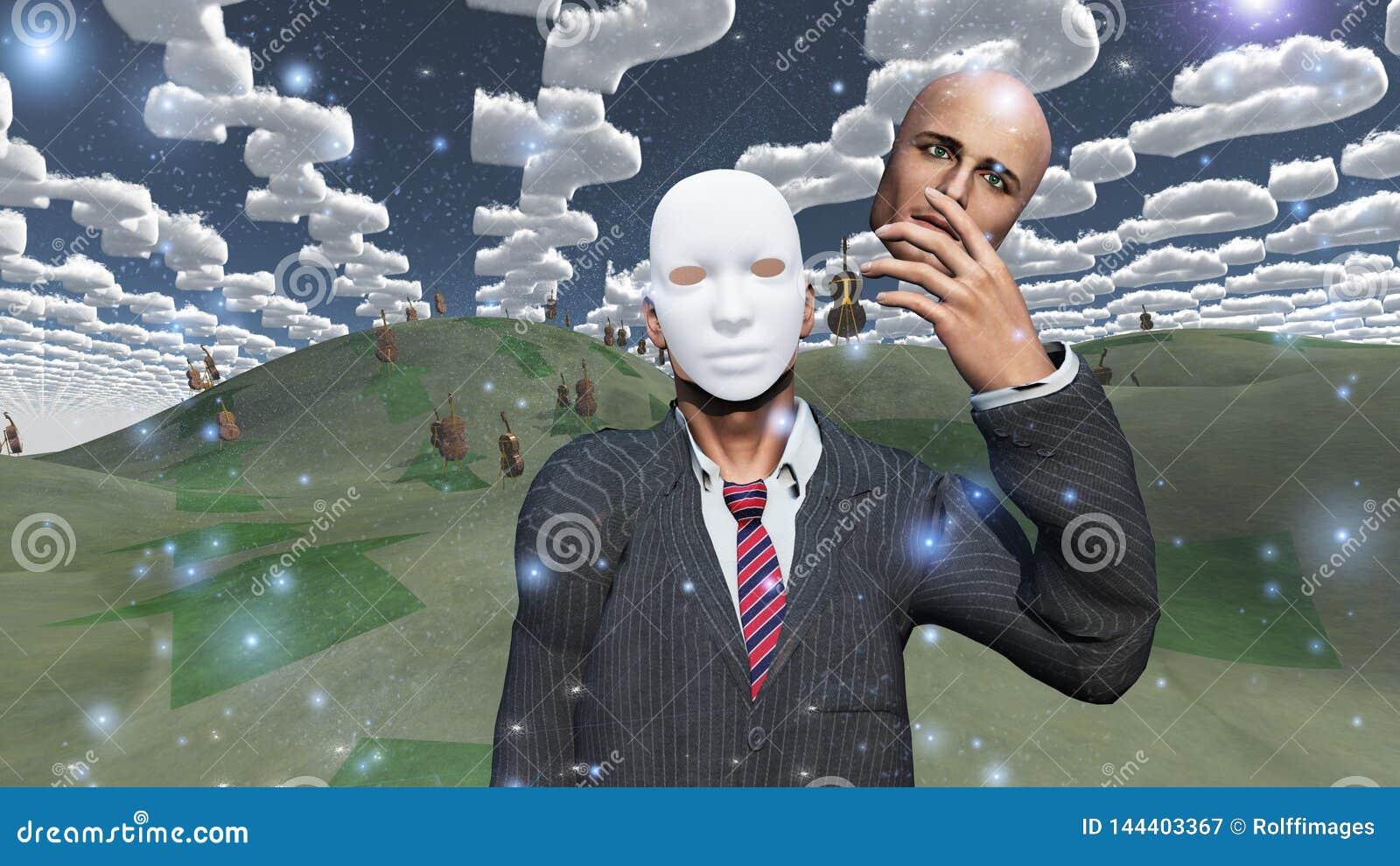 El hombre quita la cara para revelar la máscara