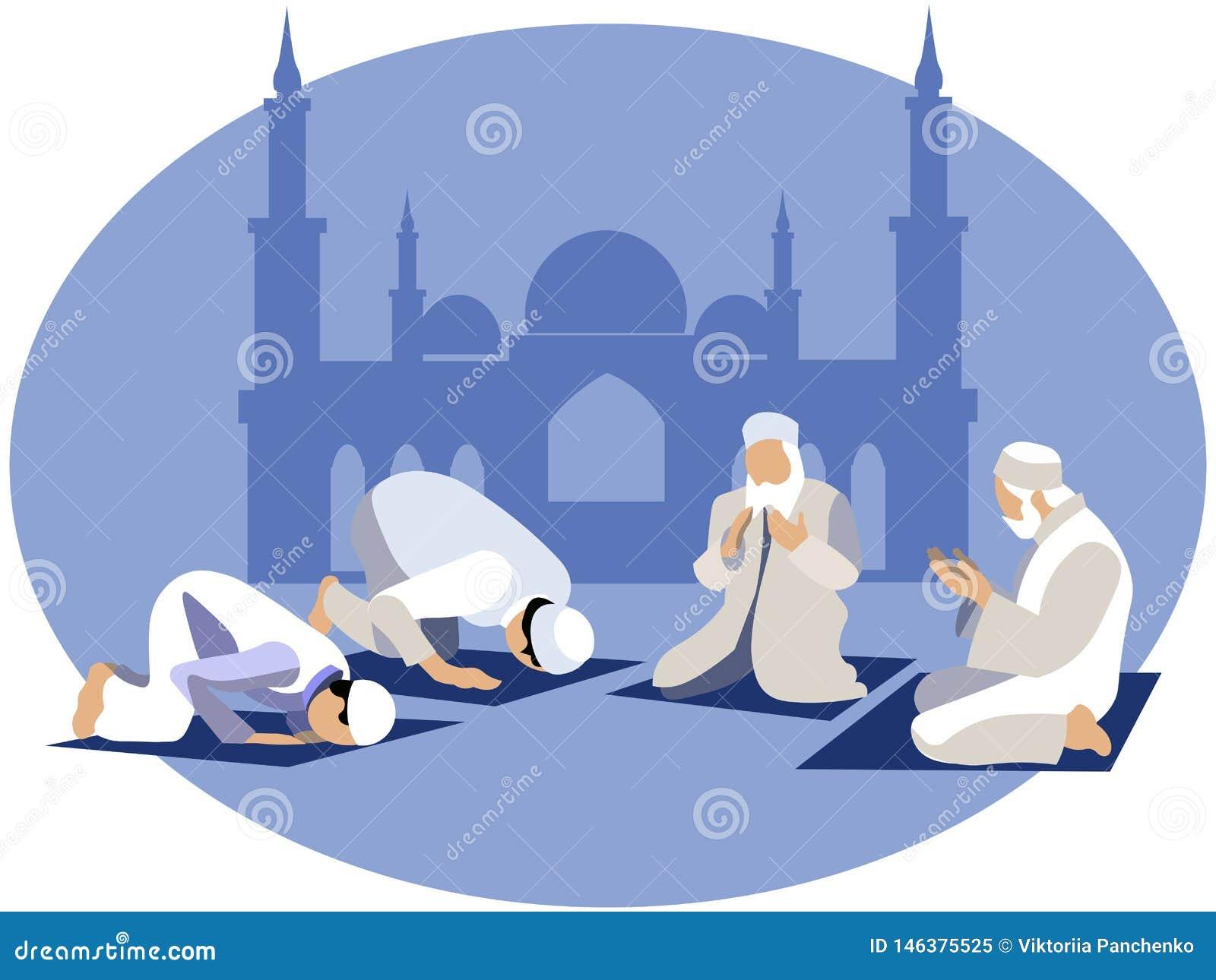 El hombre ruega, rezo en Islam En estilo minimalista Vector plano de la historieta