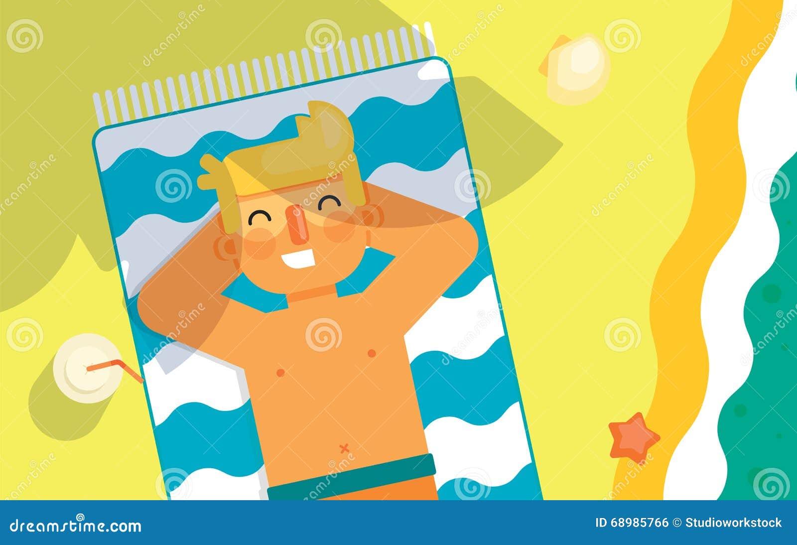 El hombre toma el sol en la playa debajo del sol