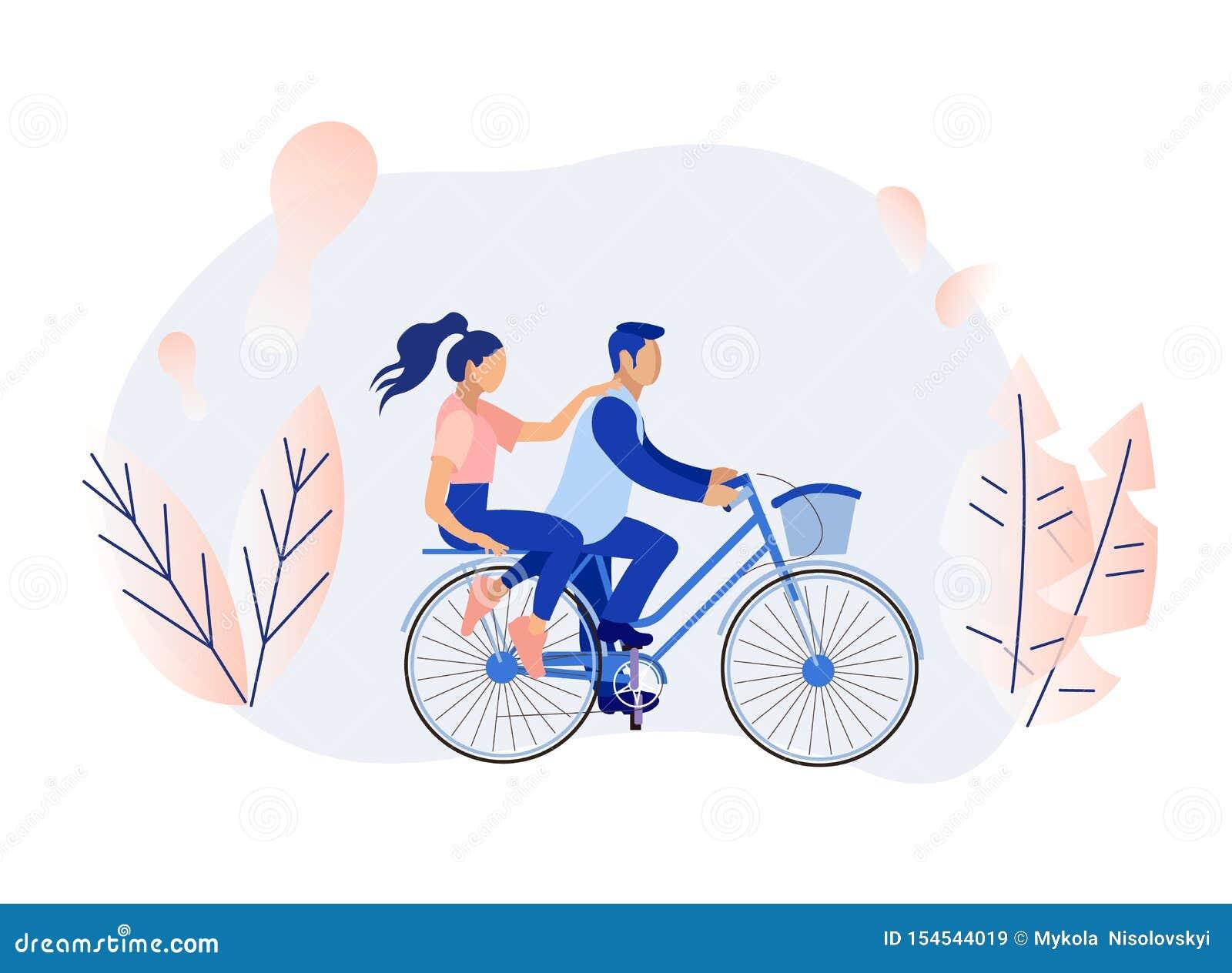 El hombre y la mujer de la historieta juntan el ciclo en bosque