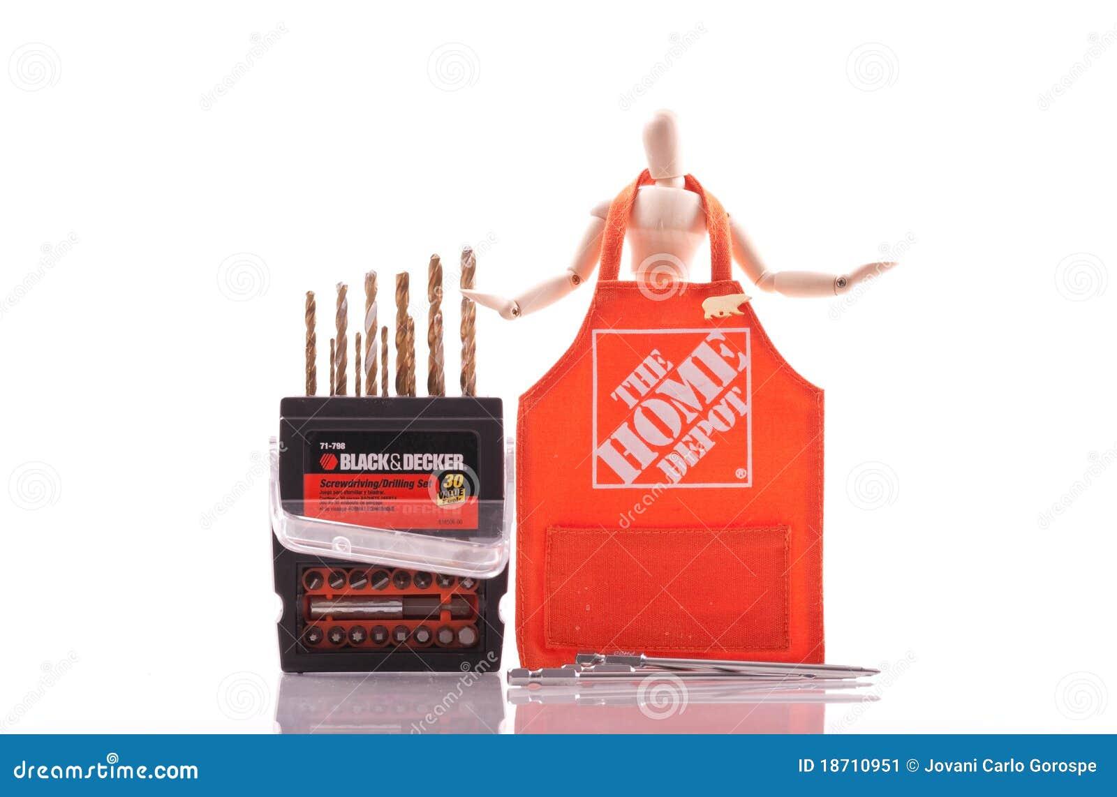 El home depot y el negro y el apilador foto editorial for Home depot herramientas