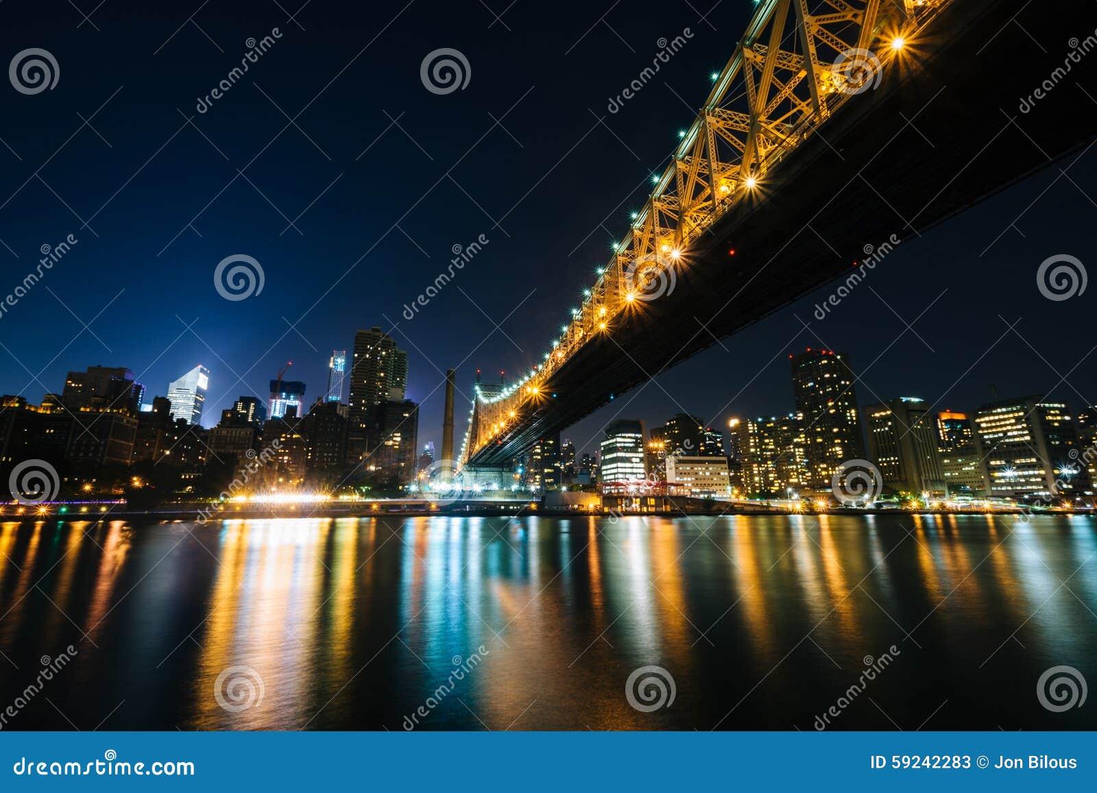 Download El Horizonte Del Puente Y De Manhattan De Queensboro En La Noche, Vista De Imagen de archivo - Imagen de midtown, perspectiva: 59242283