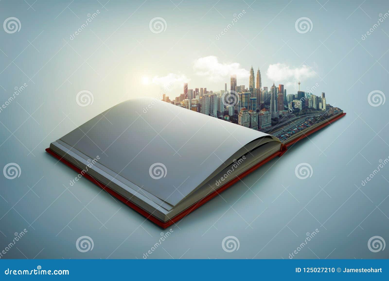El horizonte moderno de la ciudad surge en las páginas abiertas del libro