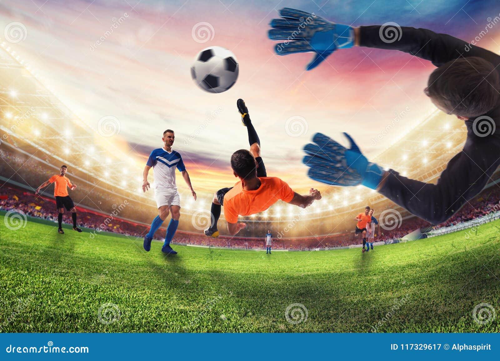 El huelguista del fútbol golpea la bola con un retroceso de bicicleta acrobático representación 3d