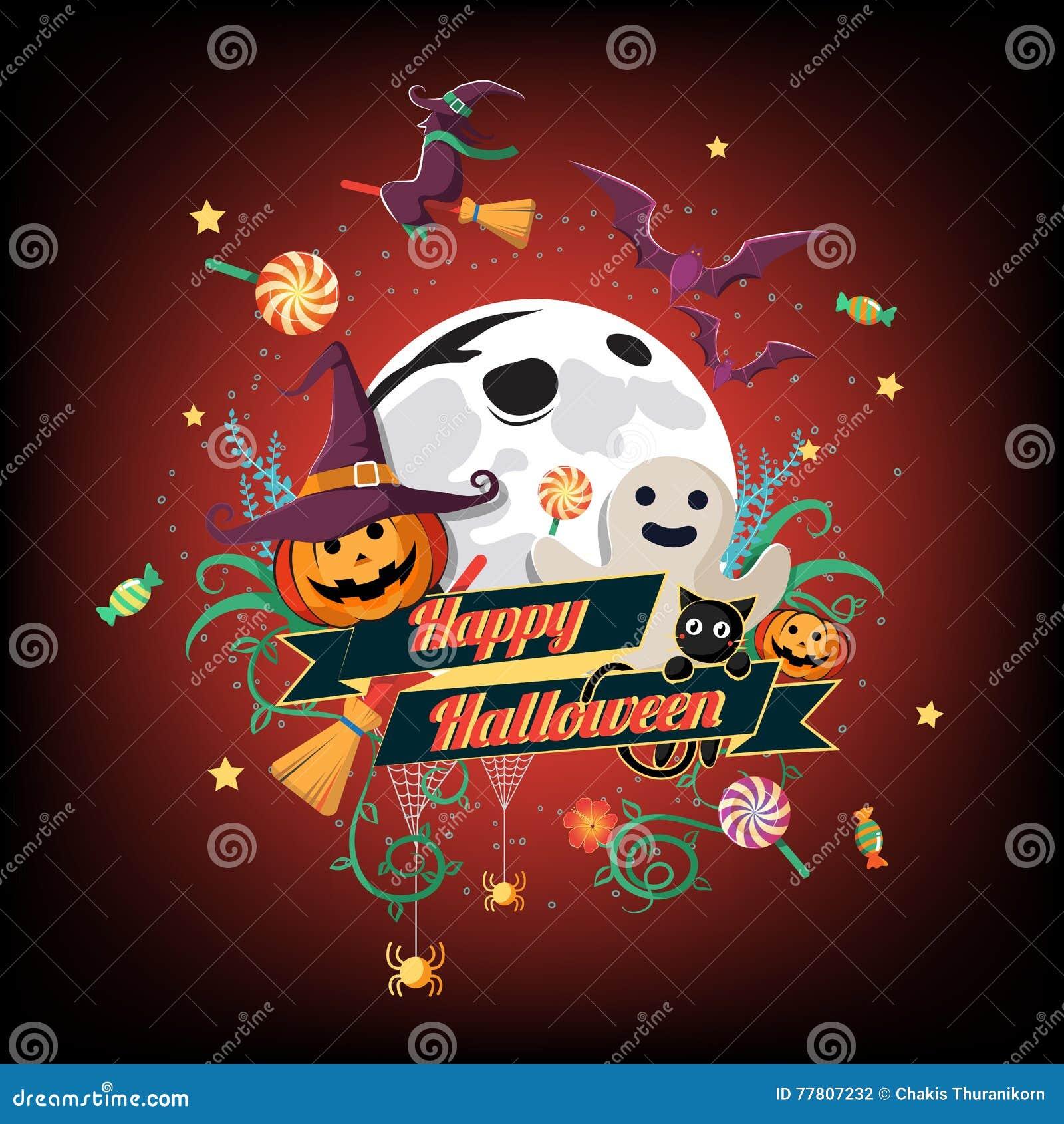 El icono de Halloween y el carácter y el elemento planos de Halloween diseñan la insignia, el fondo de Halloween, el ejemplo del