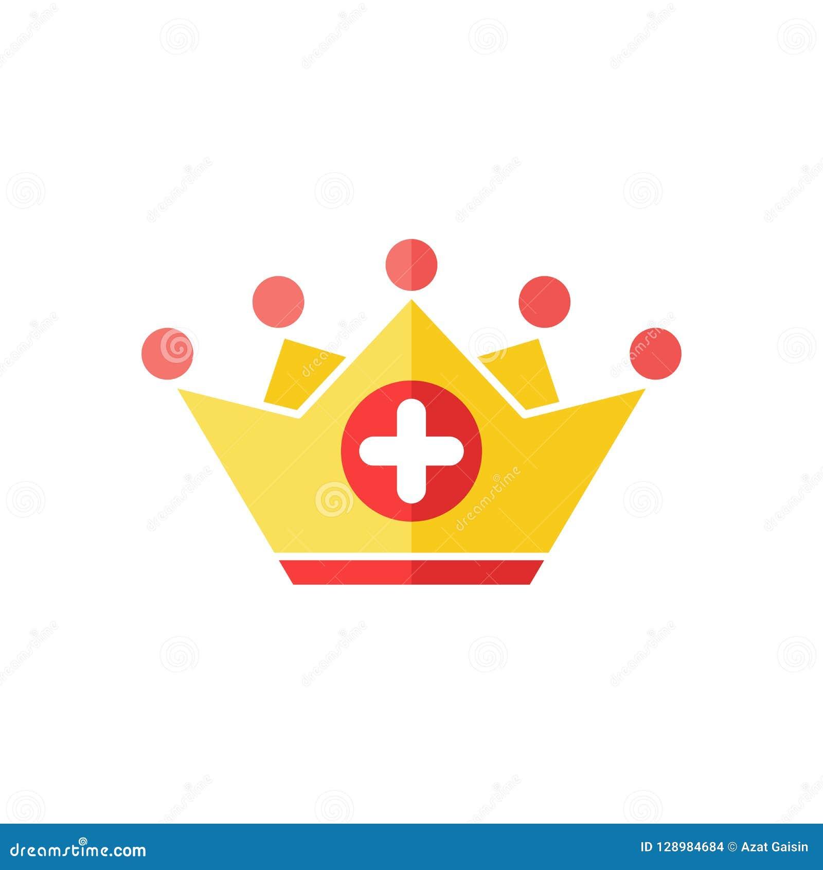 El icono de la corona con añade la muestra Icono de la autoridad y nuevo, más, positivo símbolo