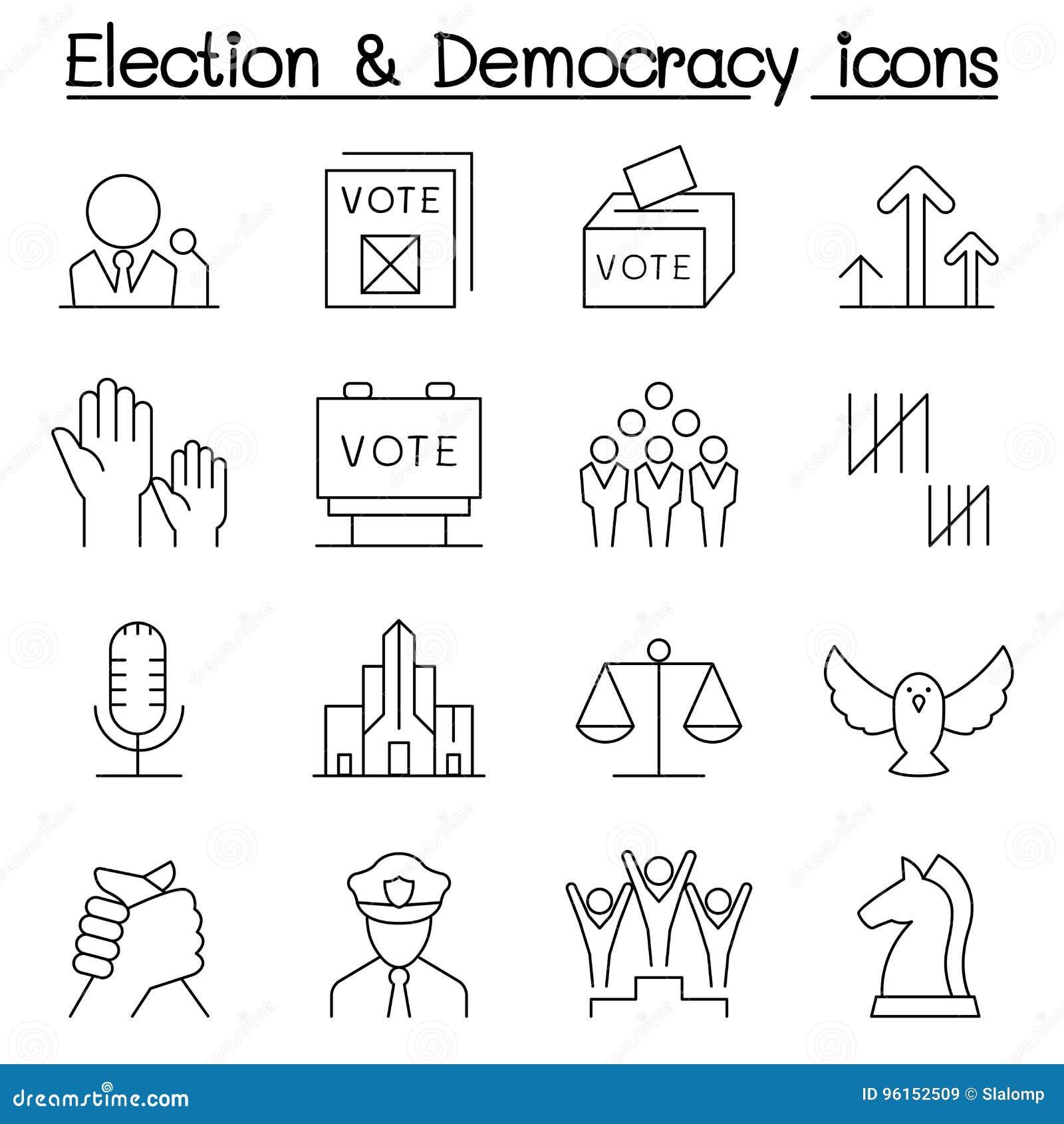 El icono de la elección y de la democracia fijó en la línea estilo fina