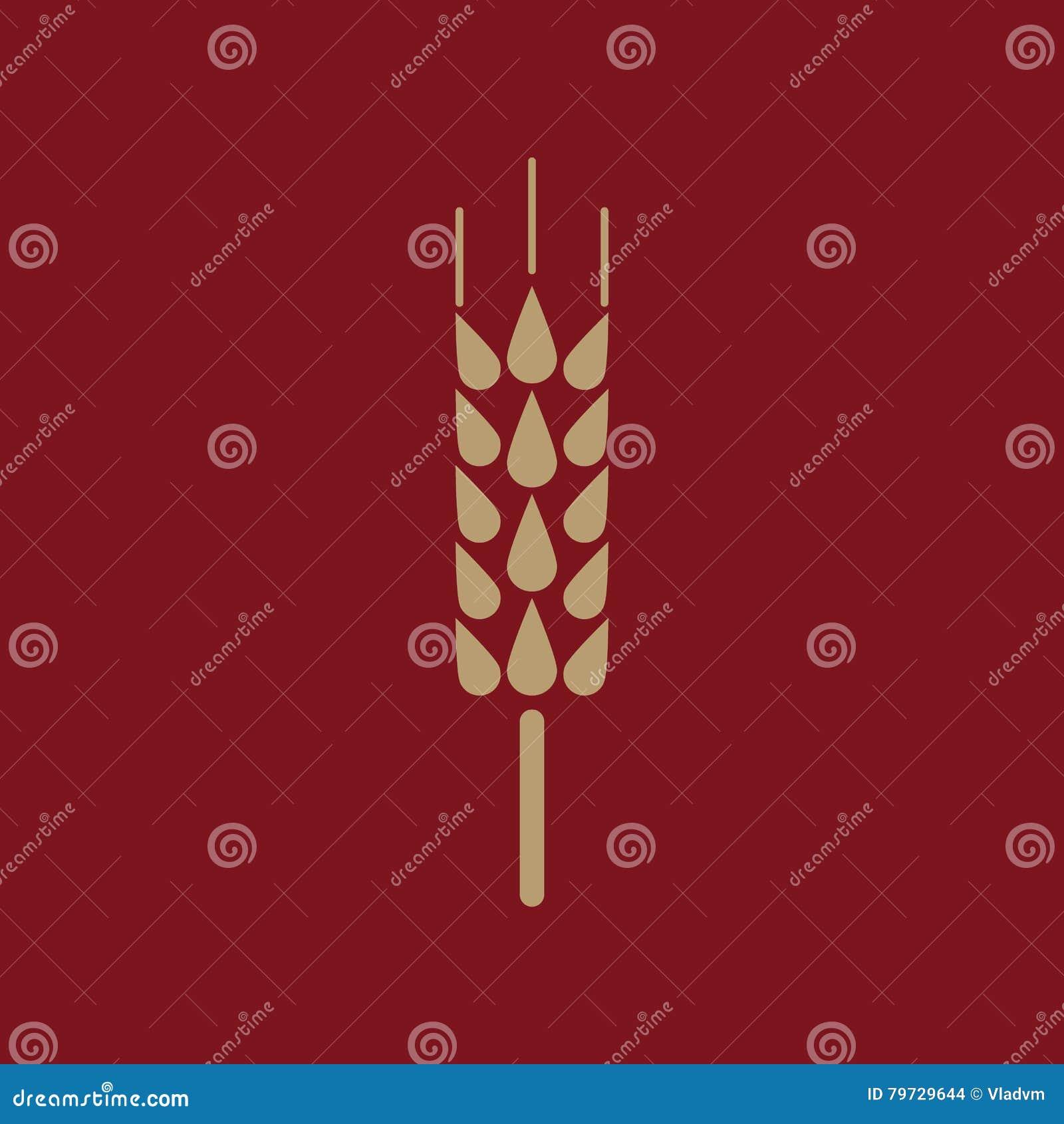 El icono de la espiga Símbolo del trigo plano