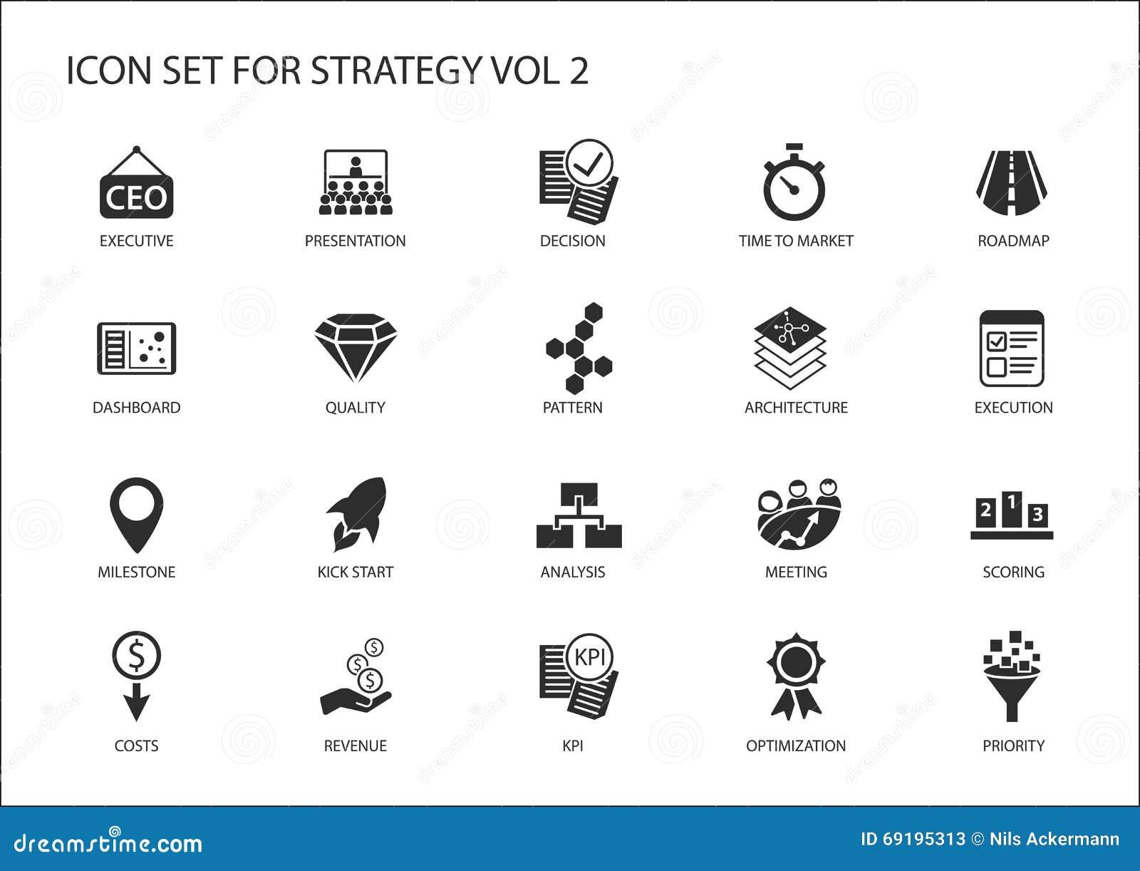 El icono de la estrategia fijó con los diversos símbolos para los temas estratégicos como la optimización, tablero de instrumento
