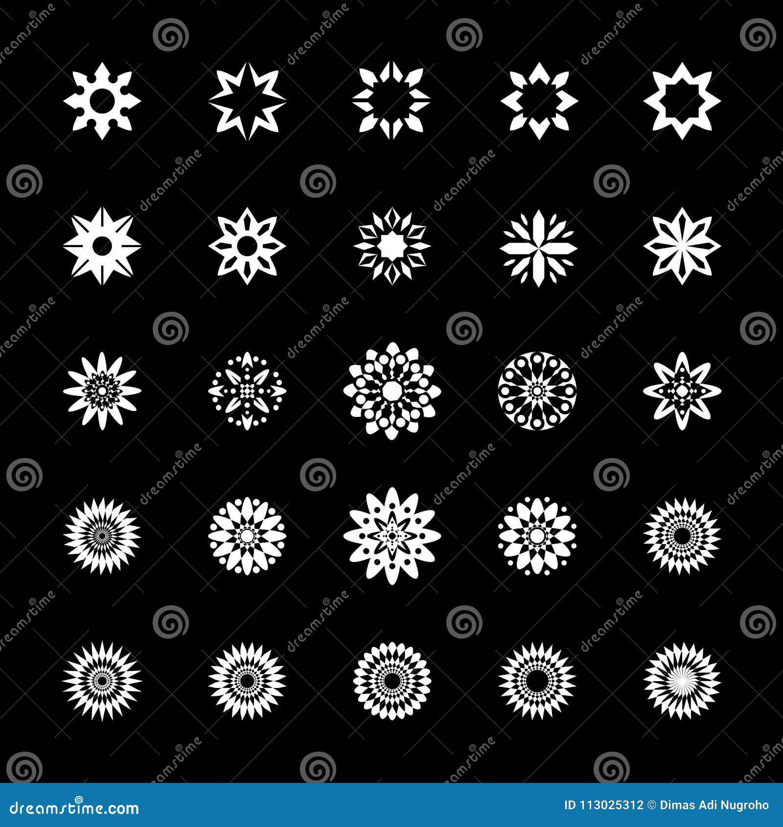 El icono de la flor y del sol fijó - el clip, ejemplo, fondo negro