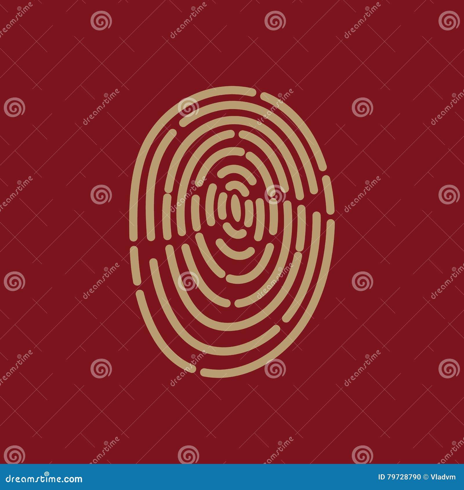 El icono de la huella dactilar Símbolo de la identificación plano