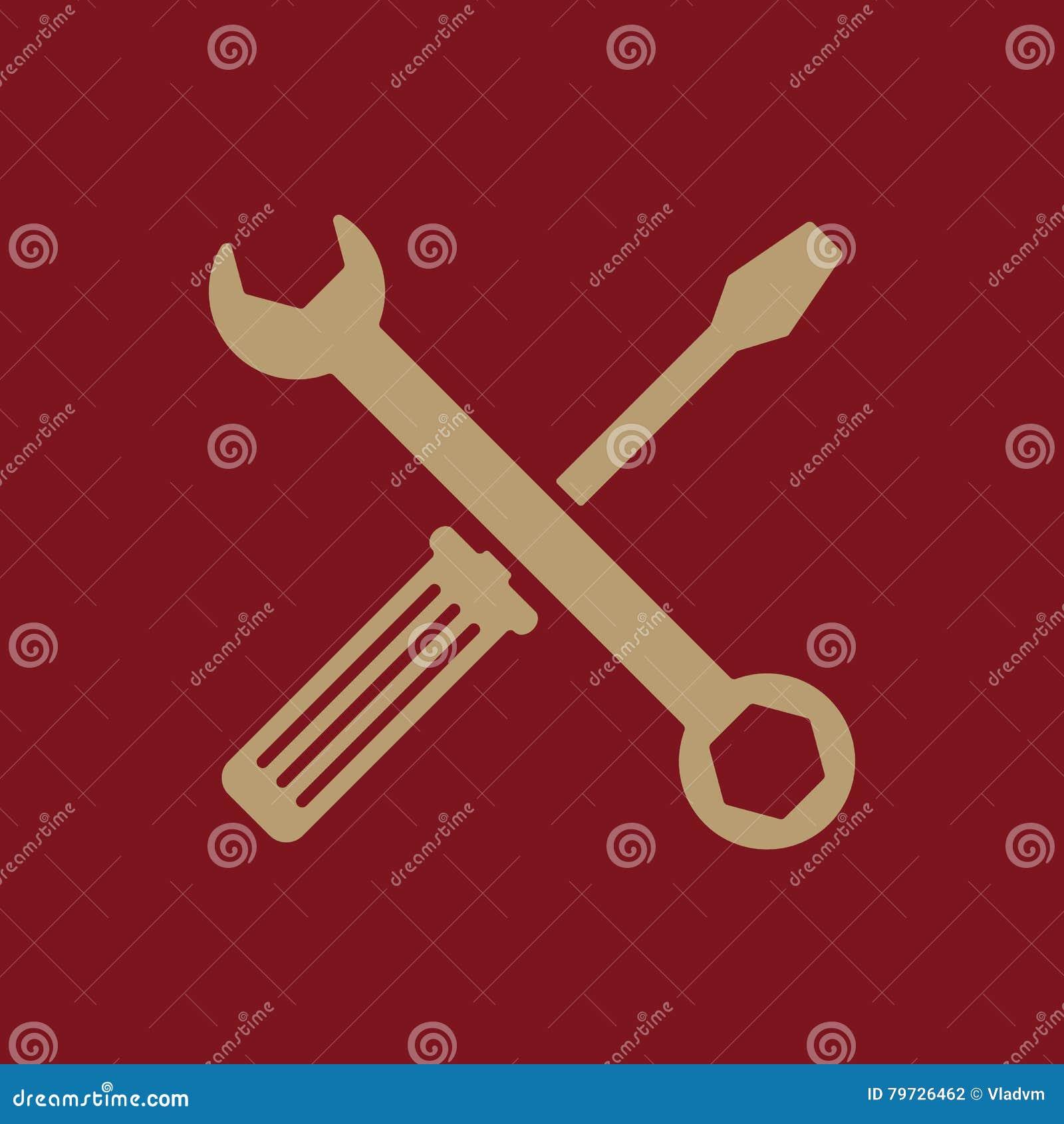 El icono de la llave y del destornillador Símbolo de los ajustes