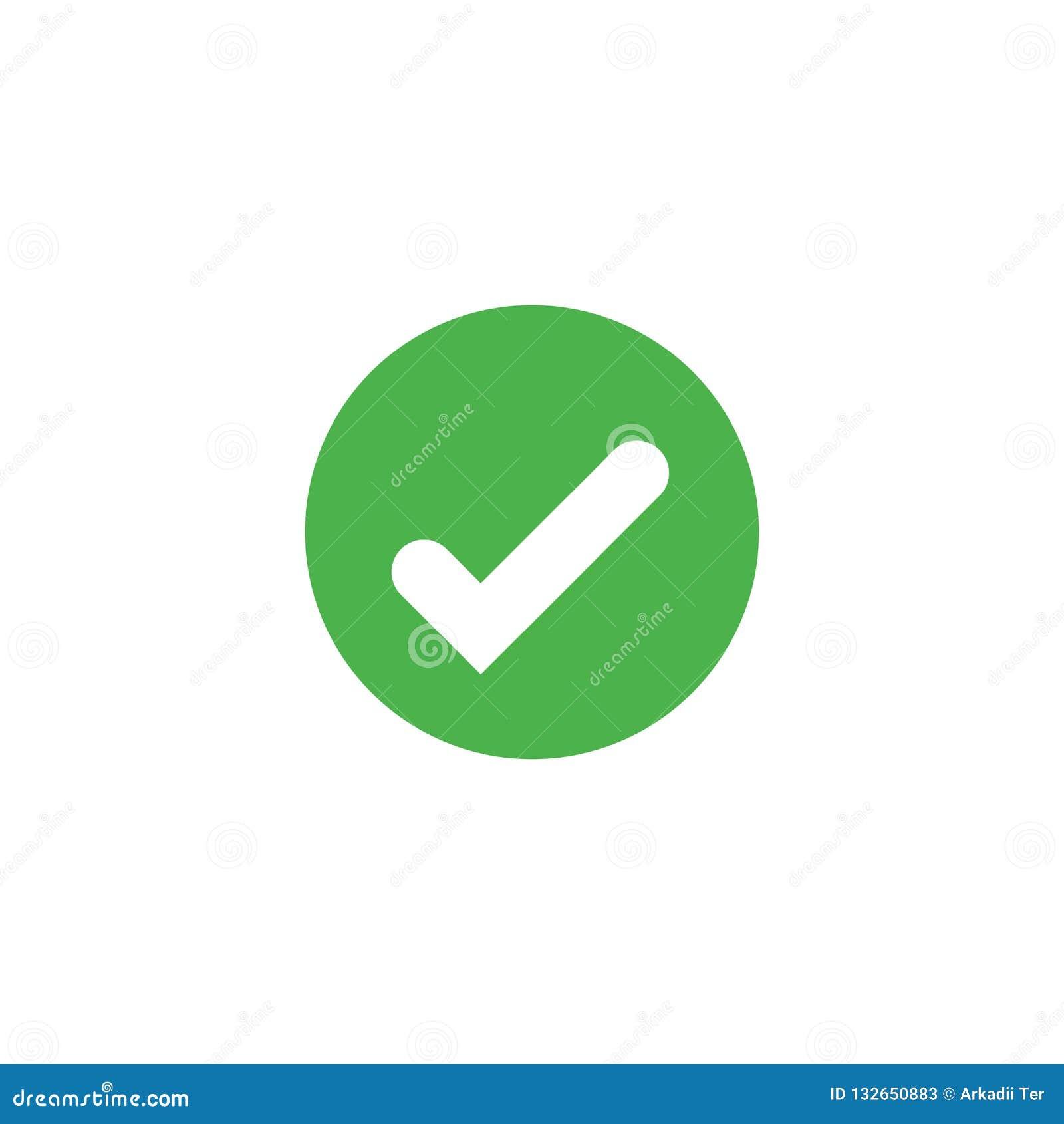 El icono de la marca de verificación del vector aisló Apruebe el símbolo Elemento para la tarjeta o la página web de interfaz móv