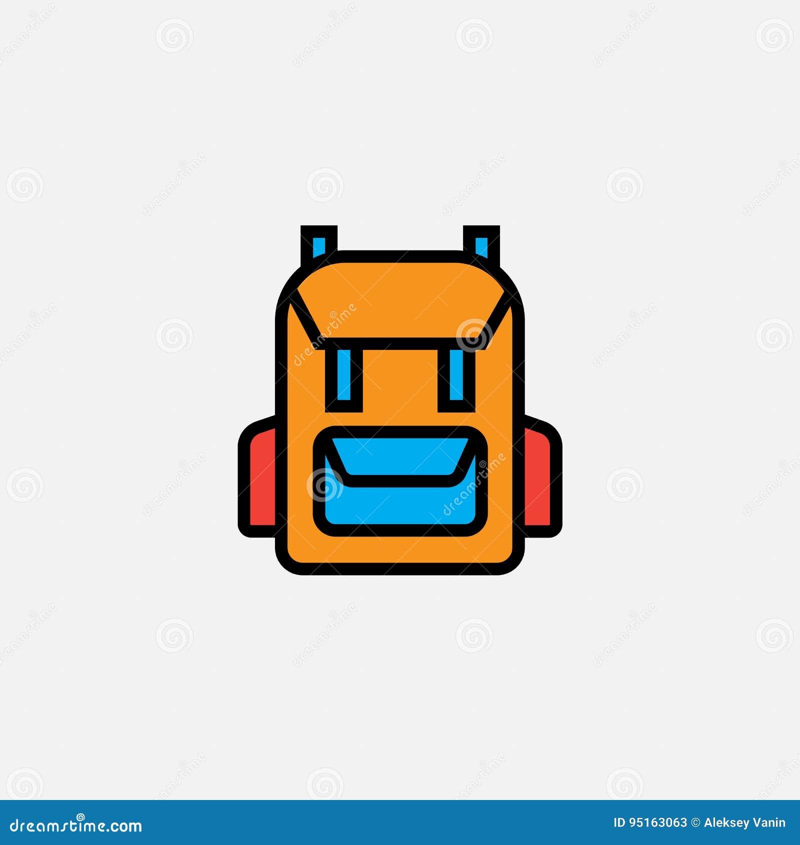 El icono de la mochila de la mochila, ejemplo del logotipo del vector del esquema, llenó el pictograma linear del color aislado e