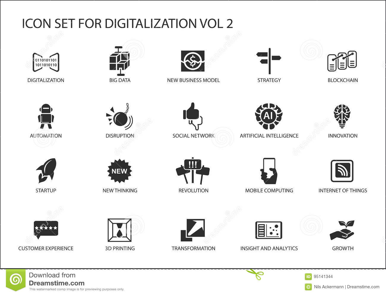 El icono de la numeración fijó para los temas como los datos grandes, modelos comerciales, 3D impresión, interrupción, inteligenc