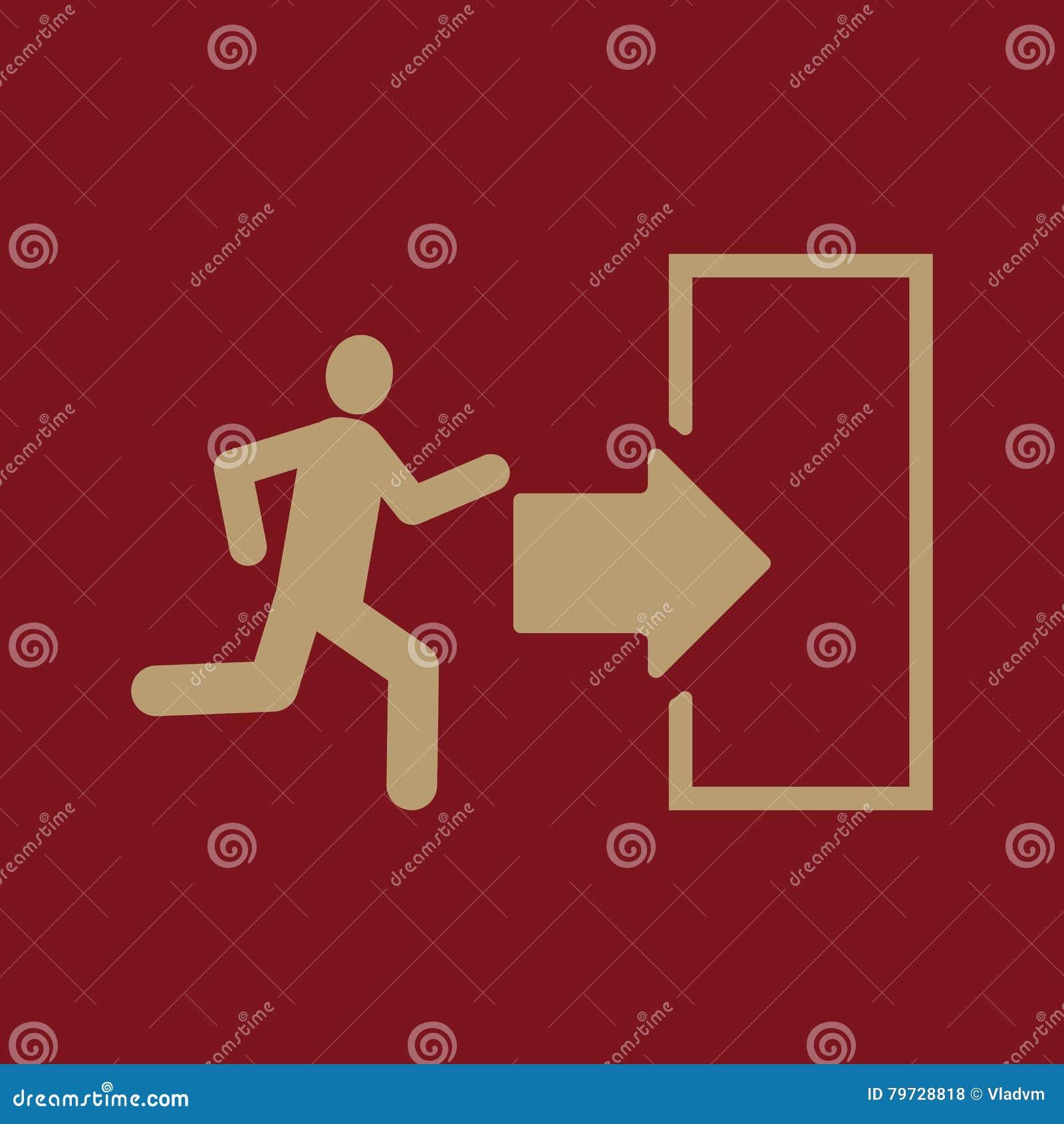 El icono de la salida Símbolo de la salida de emergencia plano