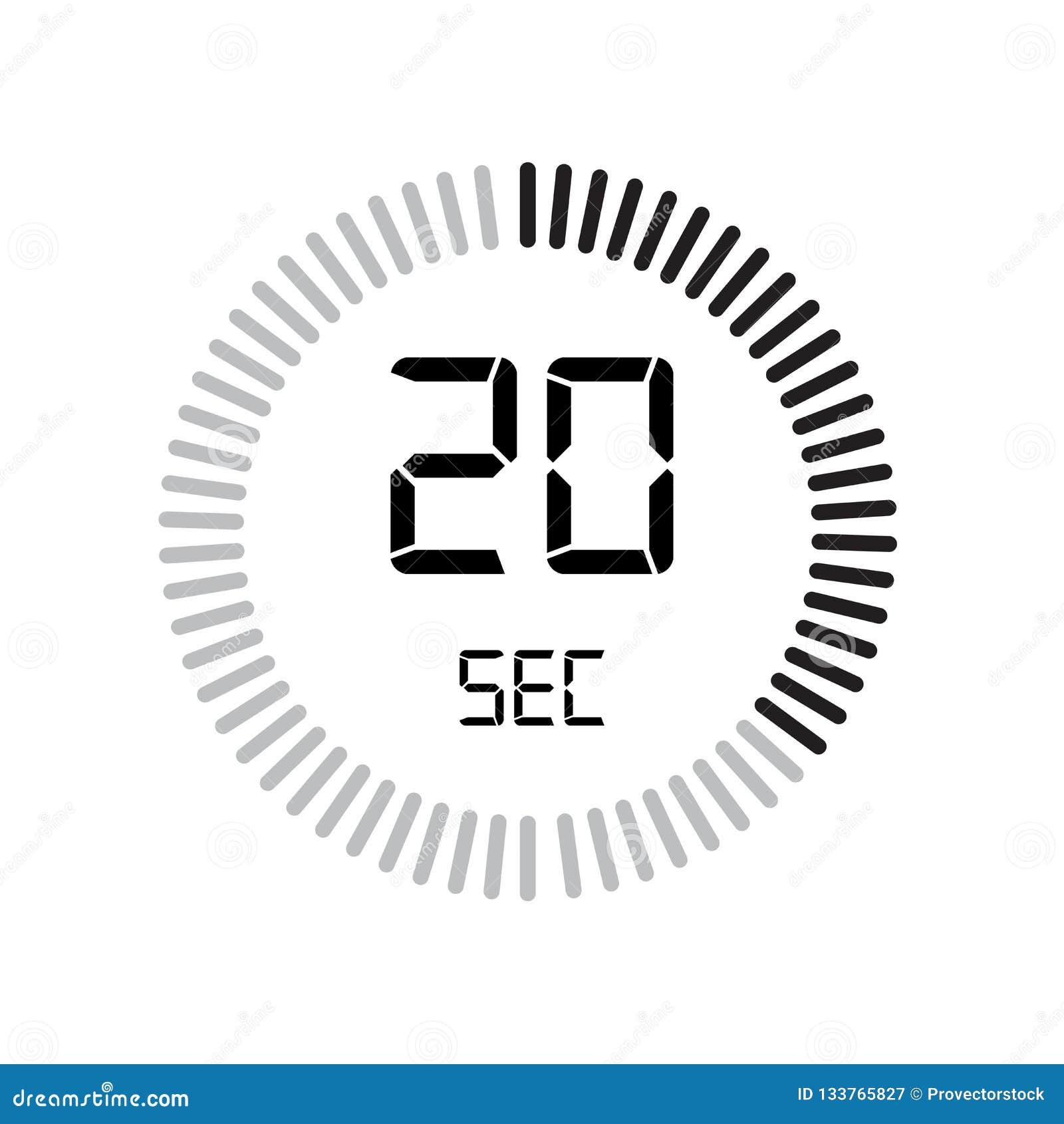 El icono de 20 segundos, contador de tiempo digital reloj y reloj, contador de tiempo, coun