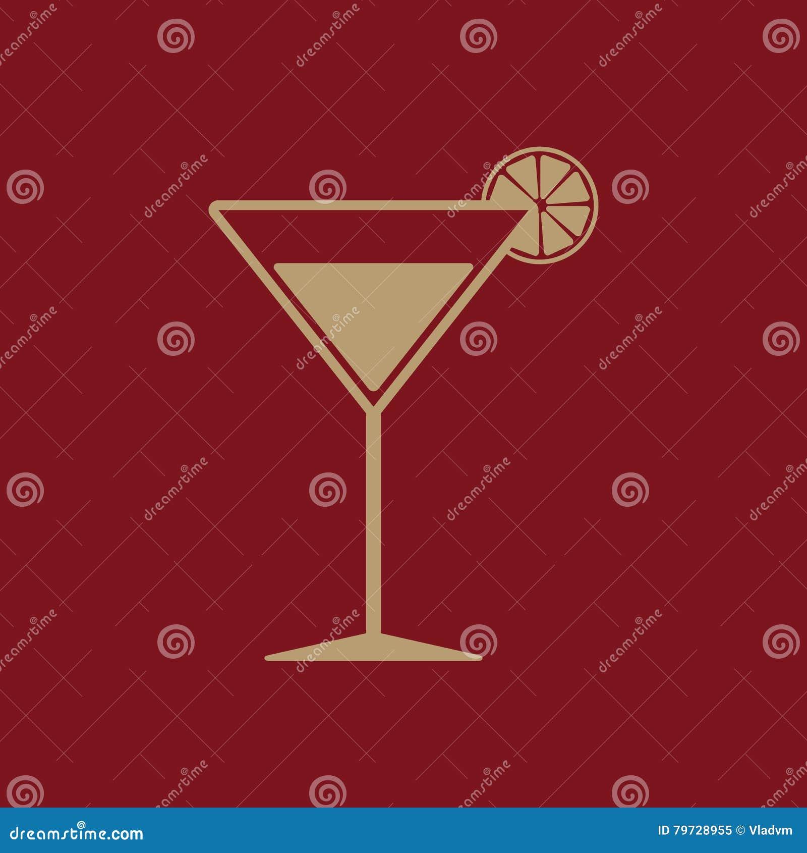 El icono del cóctel Símbolo del alcohol plano
