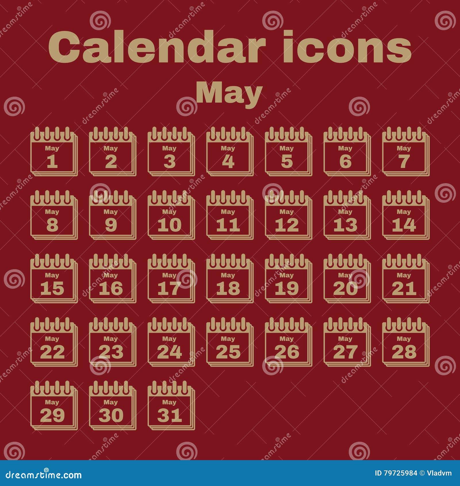 El icono del calendario Símbolo de mayo plano