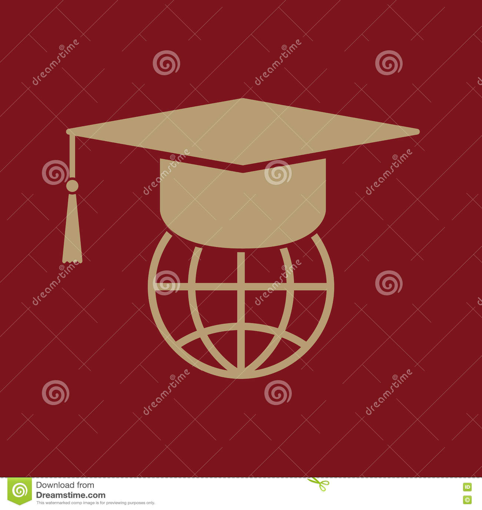 El icono del casquillo y del globo de la graduación