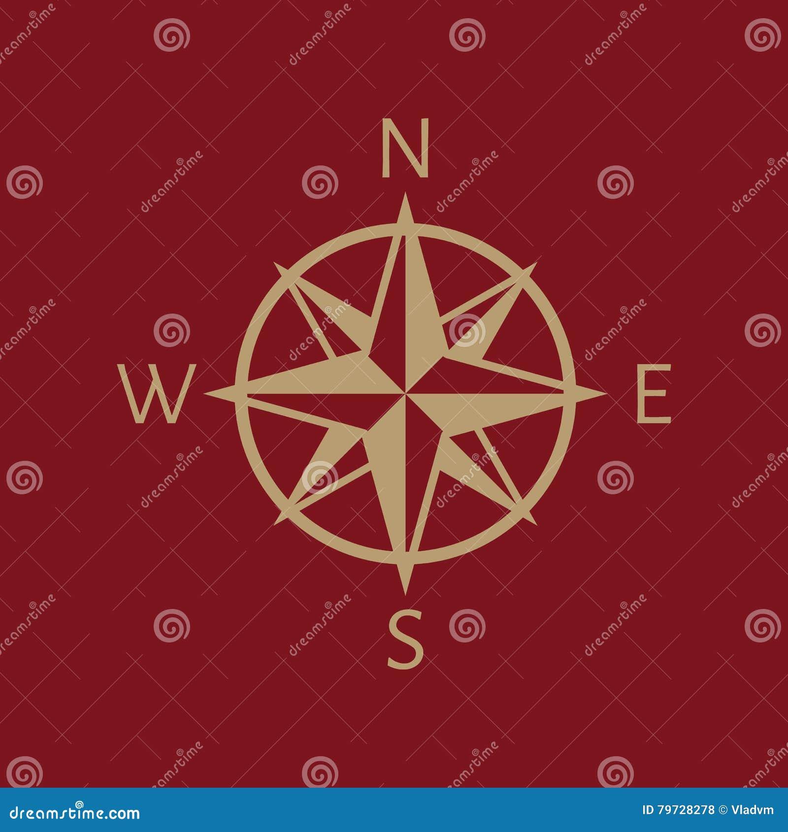 El icono del compás Símbolo de la navegación plano