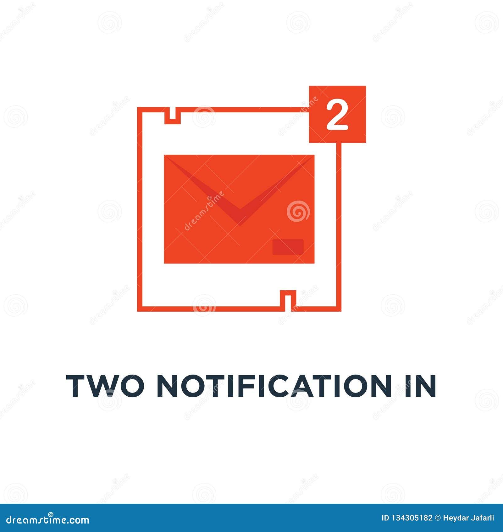 El icono del correo de dos notificaciones por completo…, símbolo de usted tiene correo con envío y la publicidad de la historieta