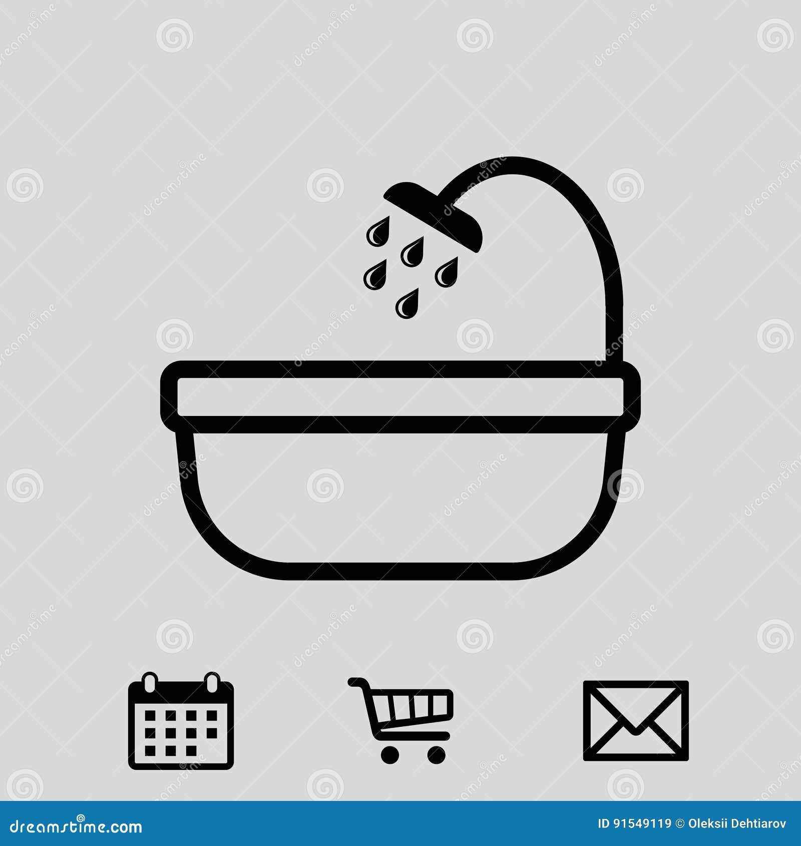 el icono del cuarto de baño y de la ducha almacena diseño plano