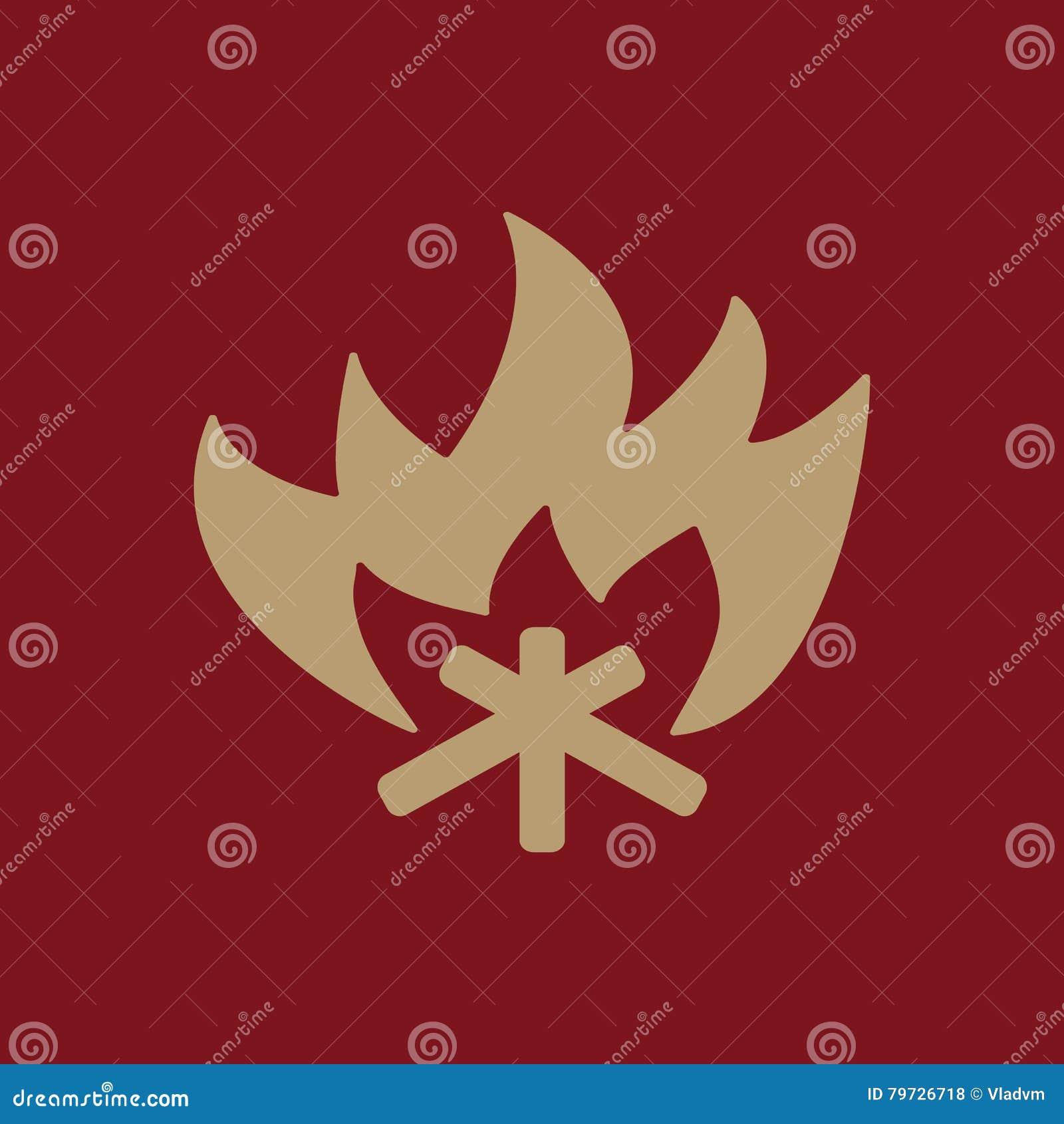 El icono del fuego Símbolo de la hoguera plano