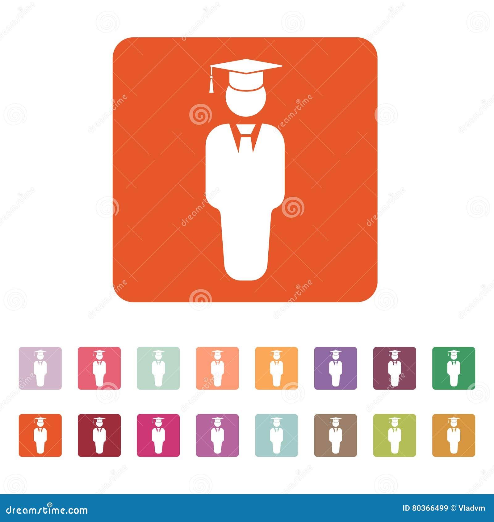 El icono del muchacho del estudiante Escuela y academia, universidad, símbolo de la educación plano