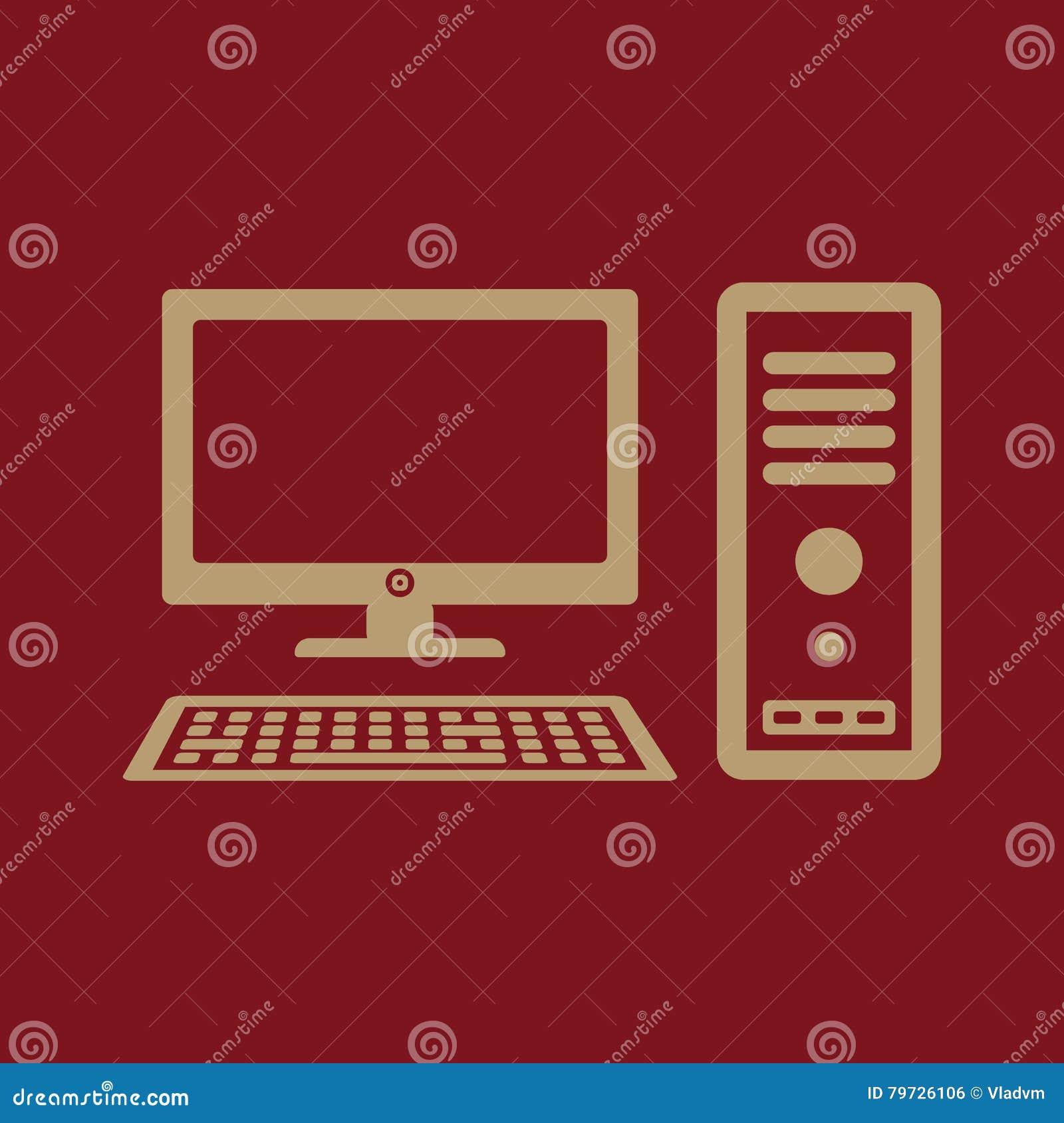El icono del ordenador Símbolo de la PC plano