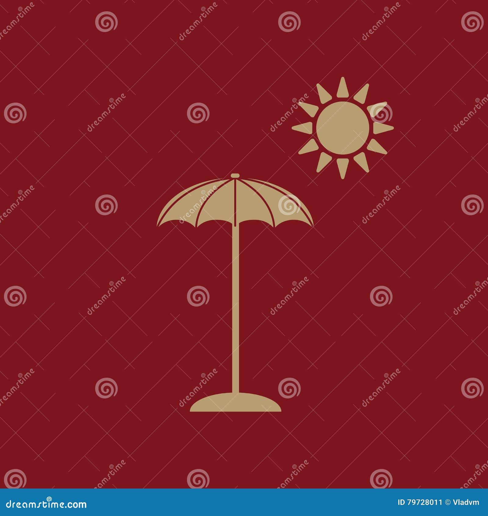 El icono del parasol Símbolo de las vacaciones plano