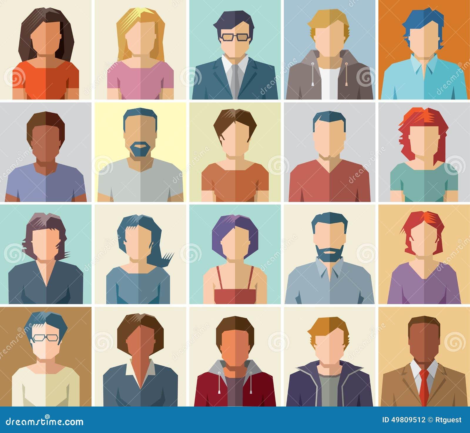 El icono del perfil del avatar del vector fijó - el sistema de iconos de la gente